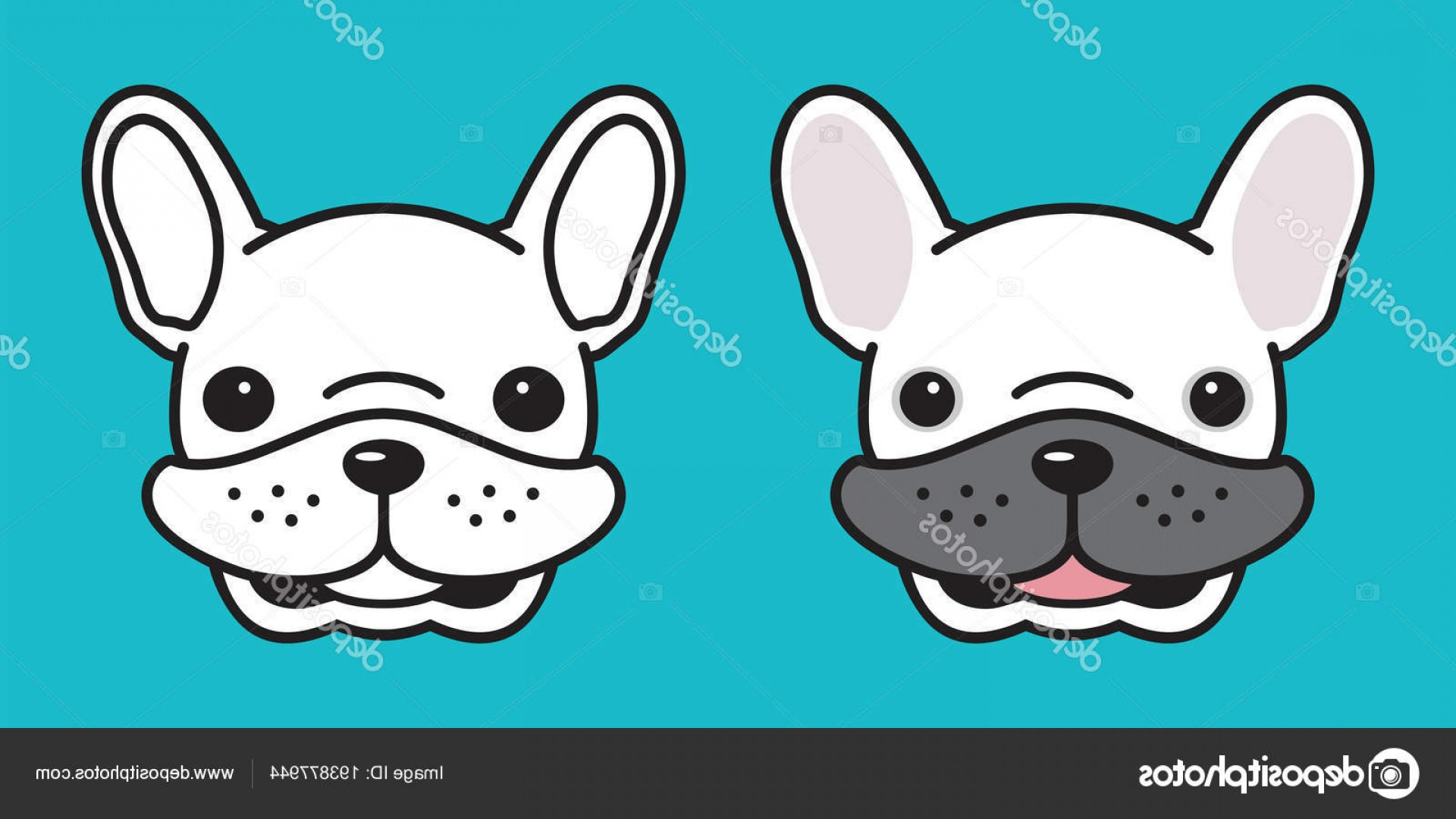 Vector Smiling Bulldog: Stock Illustration Dog Vector French Bulldog Head
