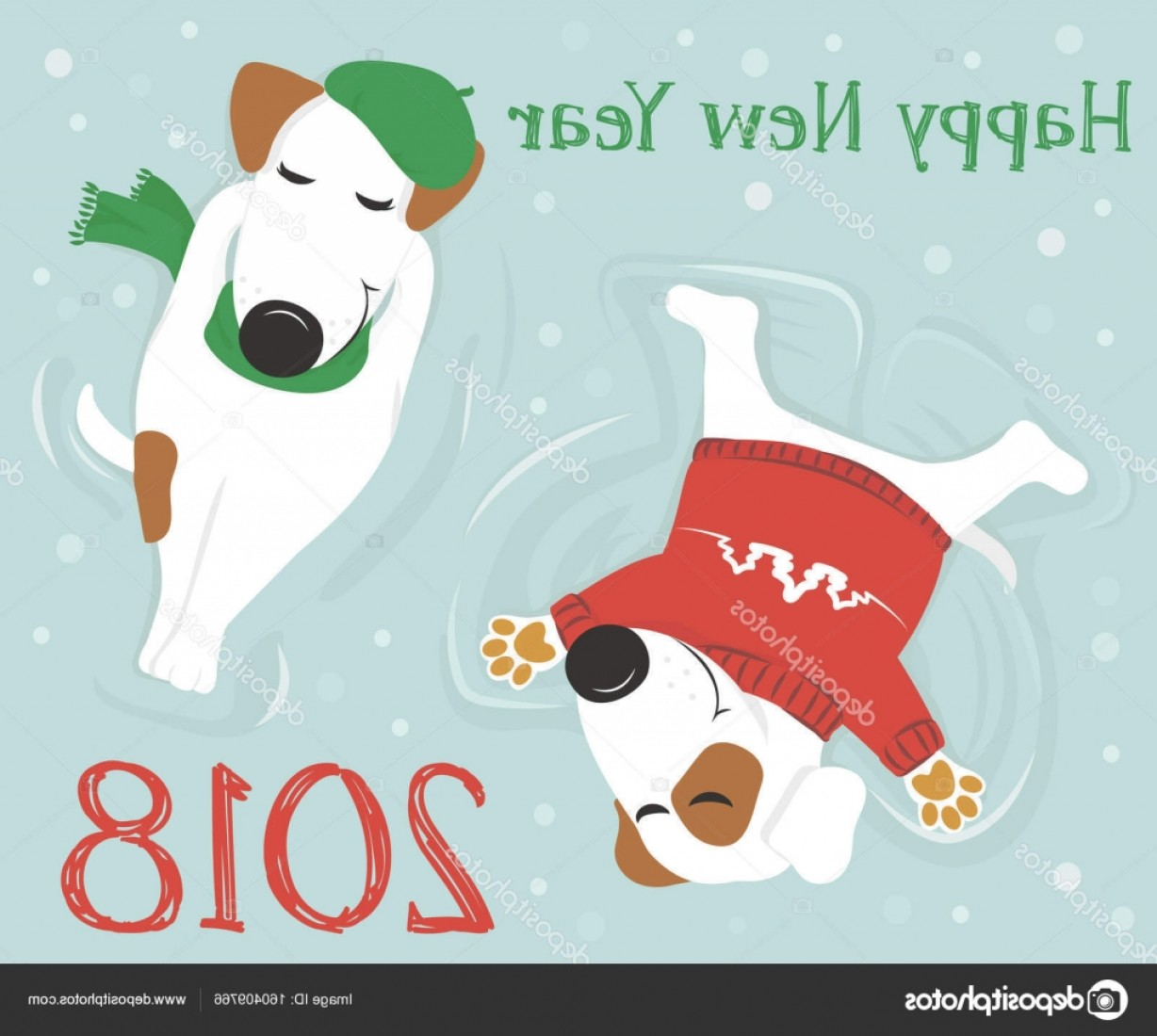 Vector Of Angel Art Dog: Stock Illustration Dogs Lying In The Snow