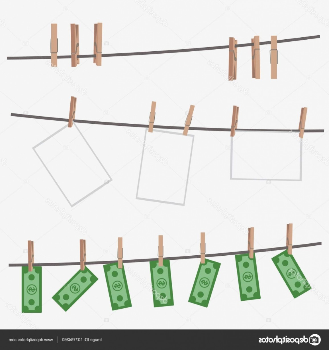Vector Clothes Pins: Stock Illustration Dollar Bills Hanging On Rope