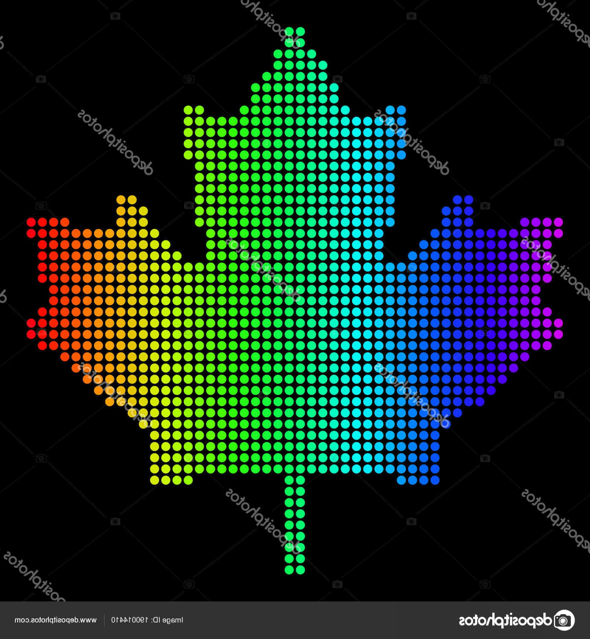 Geographic Leaf Vector: Stock Illustration Dotted Pixel Spectrum Maple Leaf