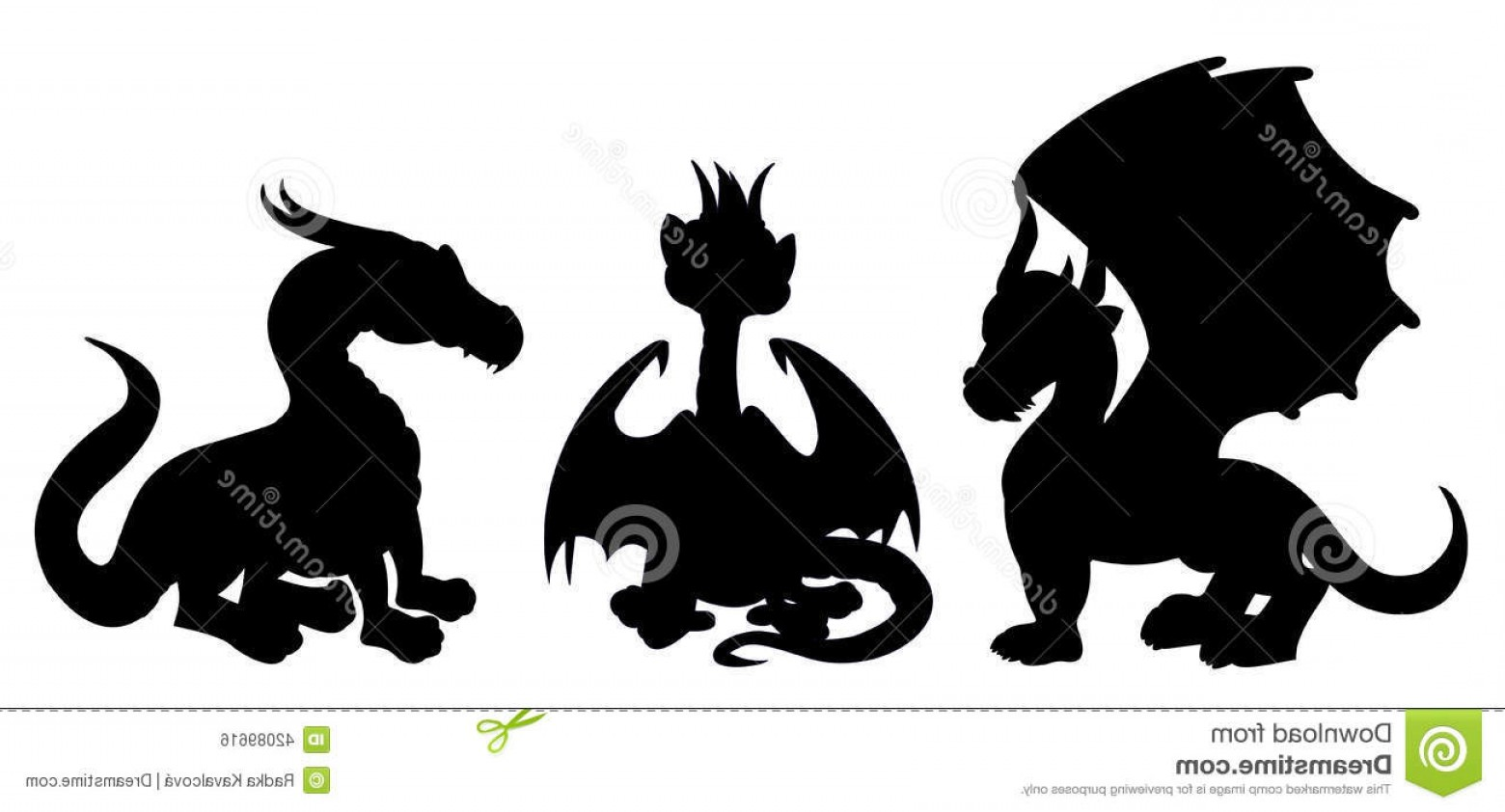 Baby Dragon Silhouette Vector: Stock Illustration Dragon Cartoon Silhouettes Collection Illustrations Fantasy Fairytale Dragons Isolated White Background Image