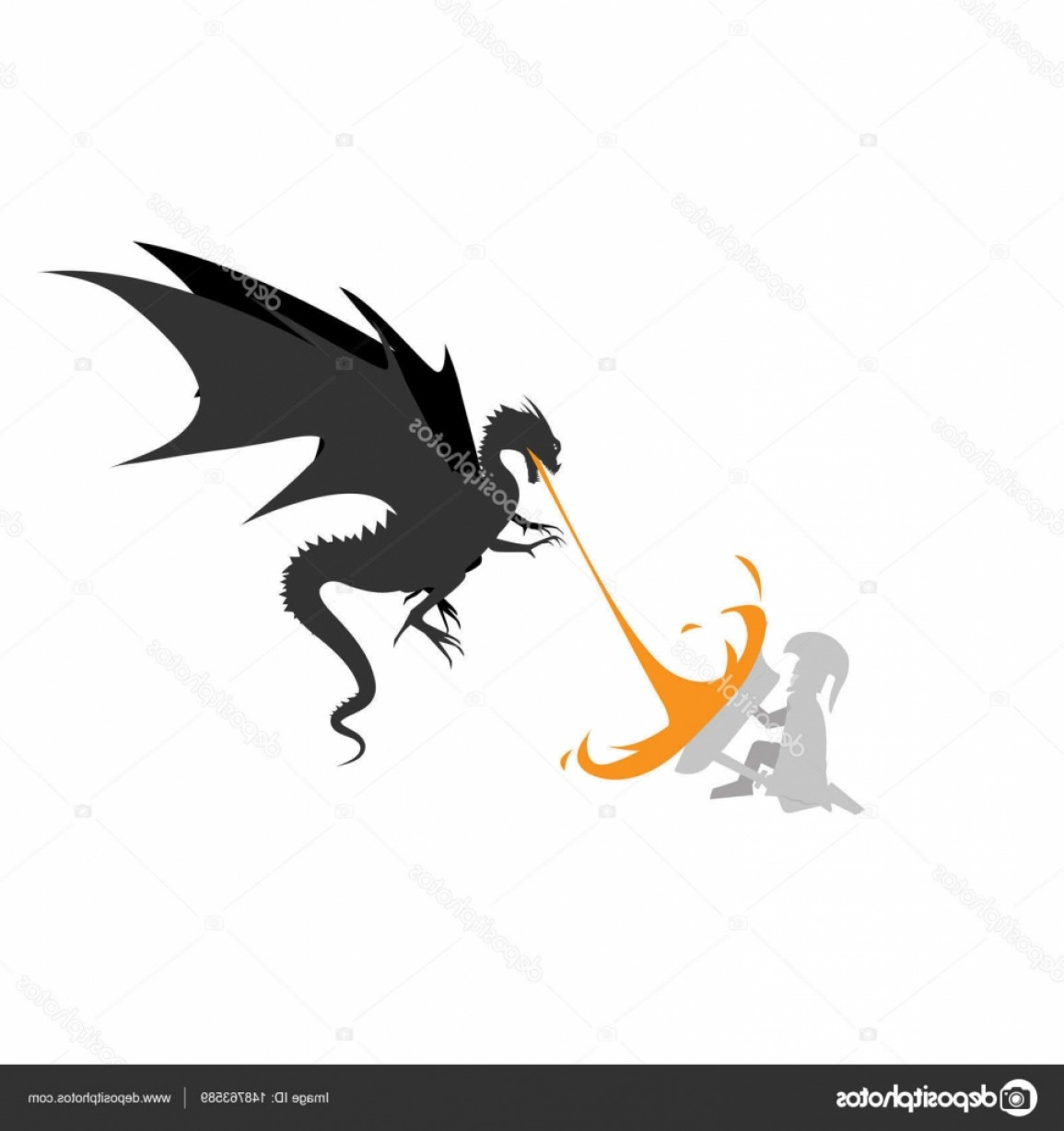 Dragon Fire Vector: Stock Illustration Dragon Fire Monsters With Knights