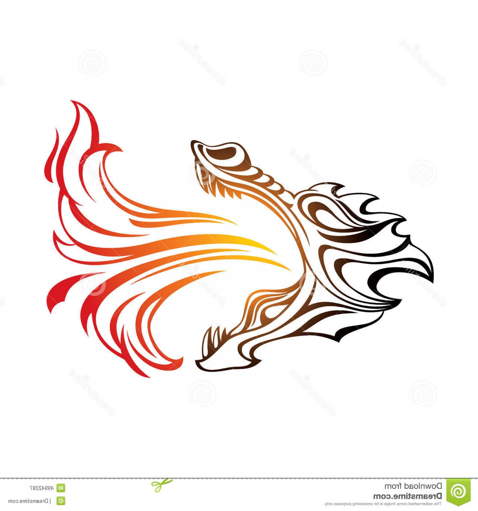 Dragon Fire Vector: Stock Illustration Dragon Head Breathing Fire Image