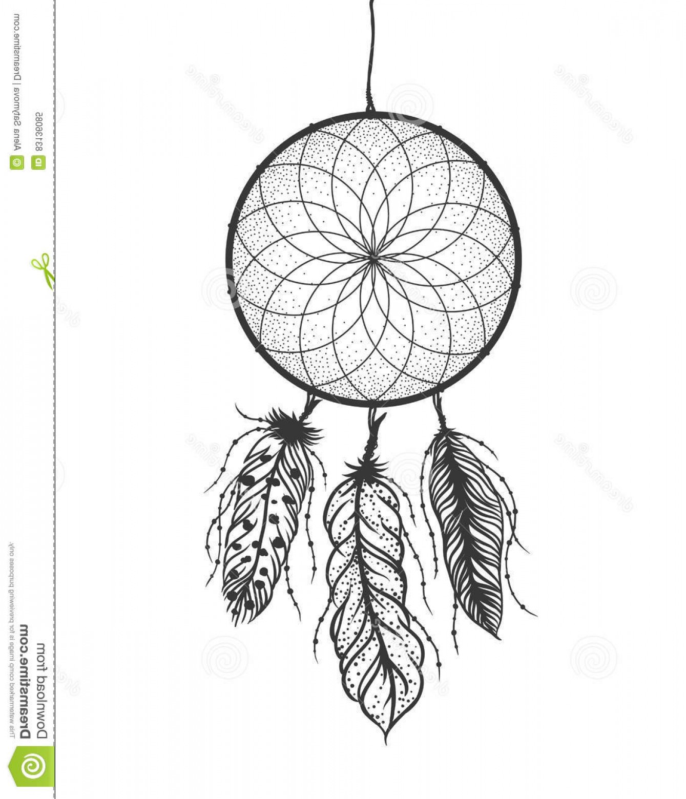 Dreamcatcher Tattoo Vector: Stock Illustration Dreamcatcher Detailed Feathers Boho Style Tattoo Vector Illustration Hand Drawn Image