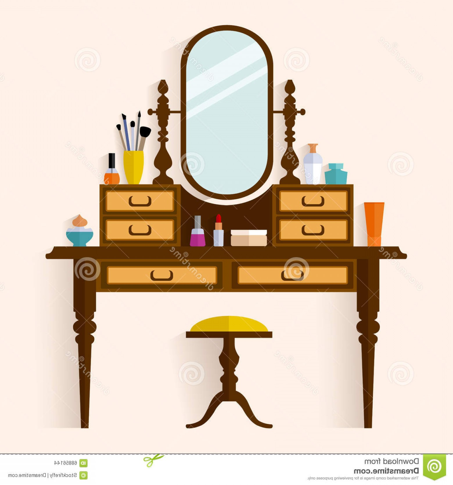 Vector Makeup Vanity Table: Stock Illustration Dressing Table Make Up Vector Flat Style Illustration Woman Boudoir Image