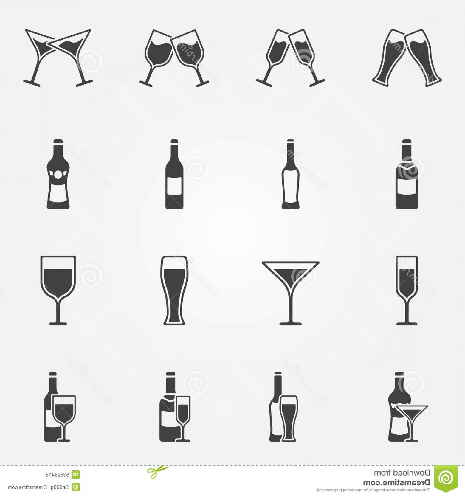Alcohol Vector: Stock Illustration Drink Alcohol Vector Icons Beverage Black Set Beer Wine Martini Champagne Bar Symbols Image