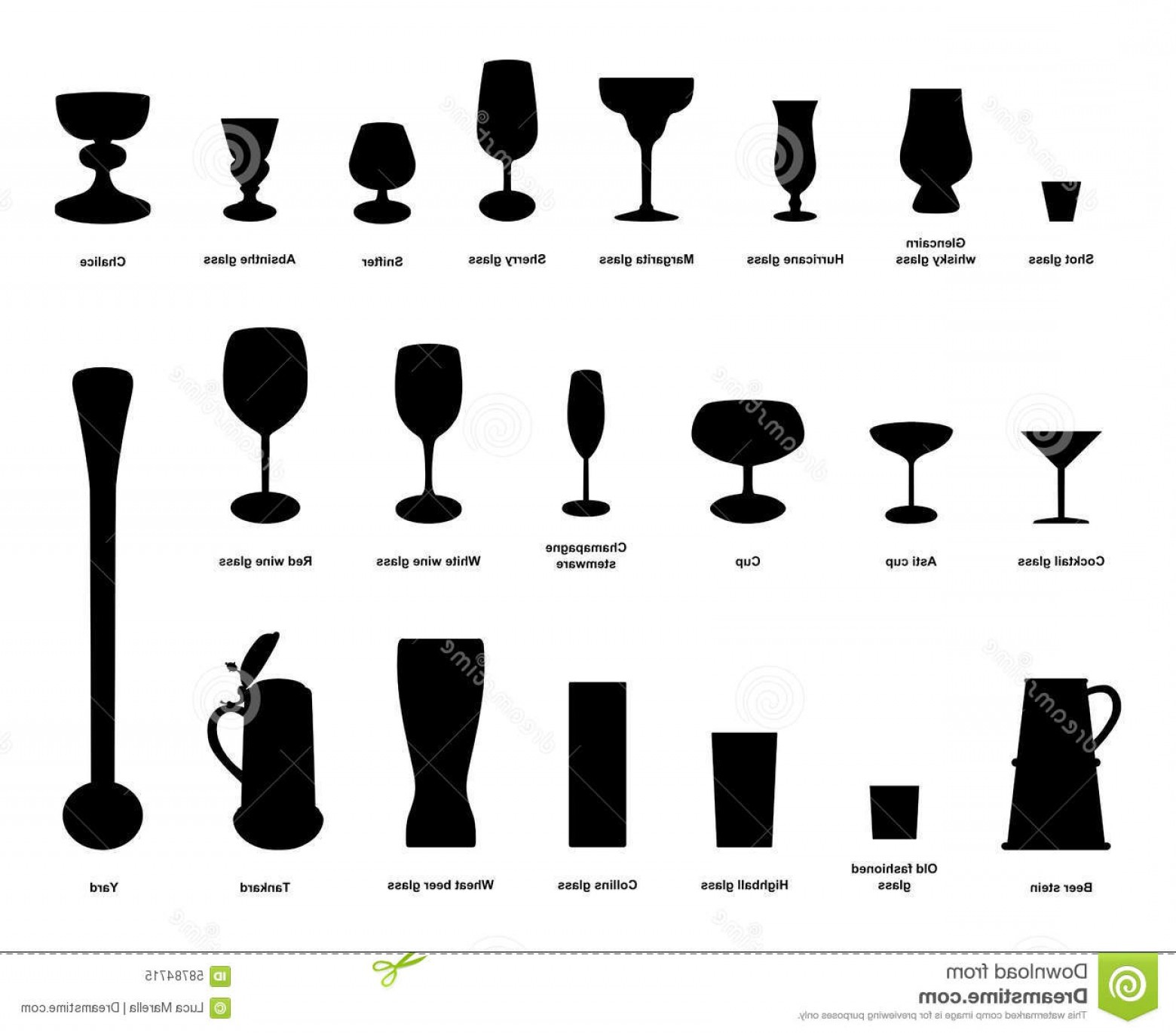 Beer Chalice Vector Logo: Stock Illustration Drink Glasses Vector Silhouettes Collection Most Popular Wine Beer Many Others Isolated White Background Image