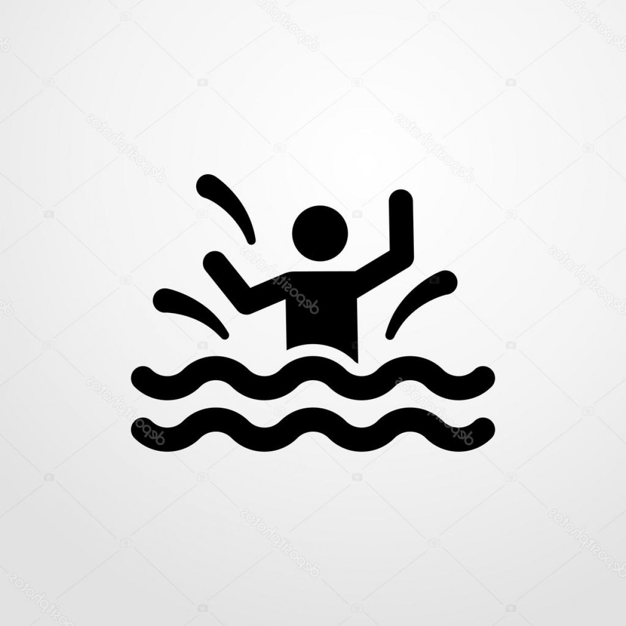 Man Drowning Vector: Stock Illustration Drowning Man Icon Drowning Man