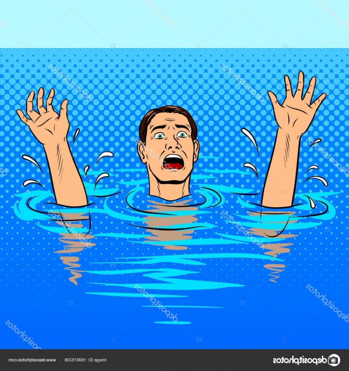 Man Drowning Vector: Stock Illustration Drowning Man Pop Art Style