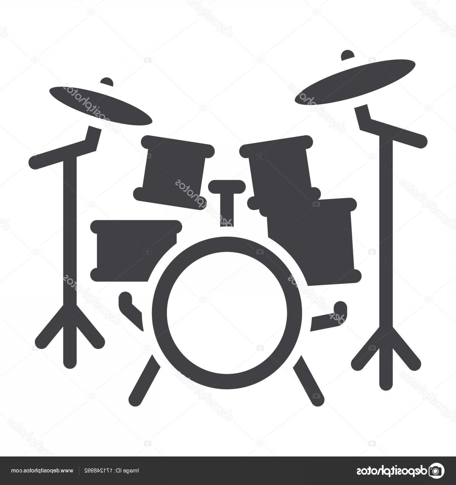 Kick Drum Vector: Stock Illustration Drum Kit Glyph Icon Music