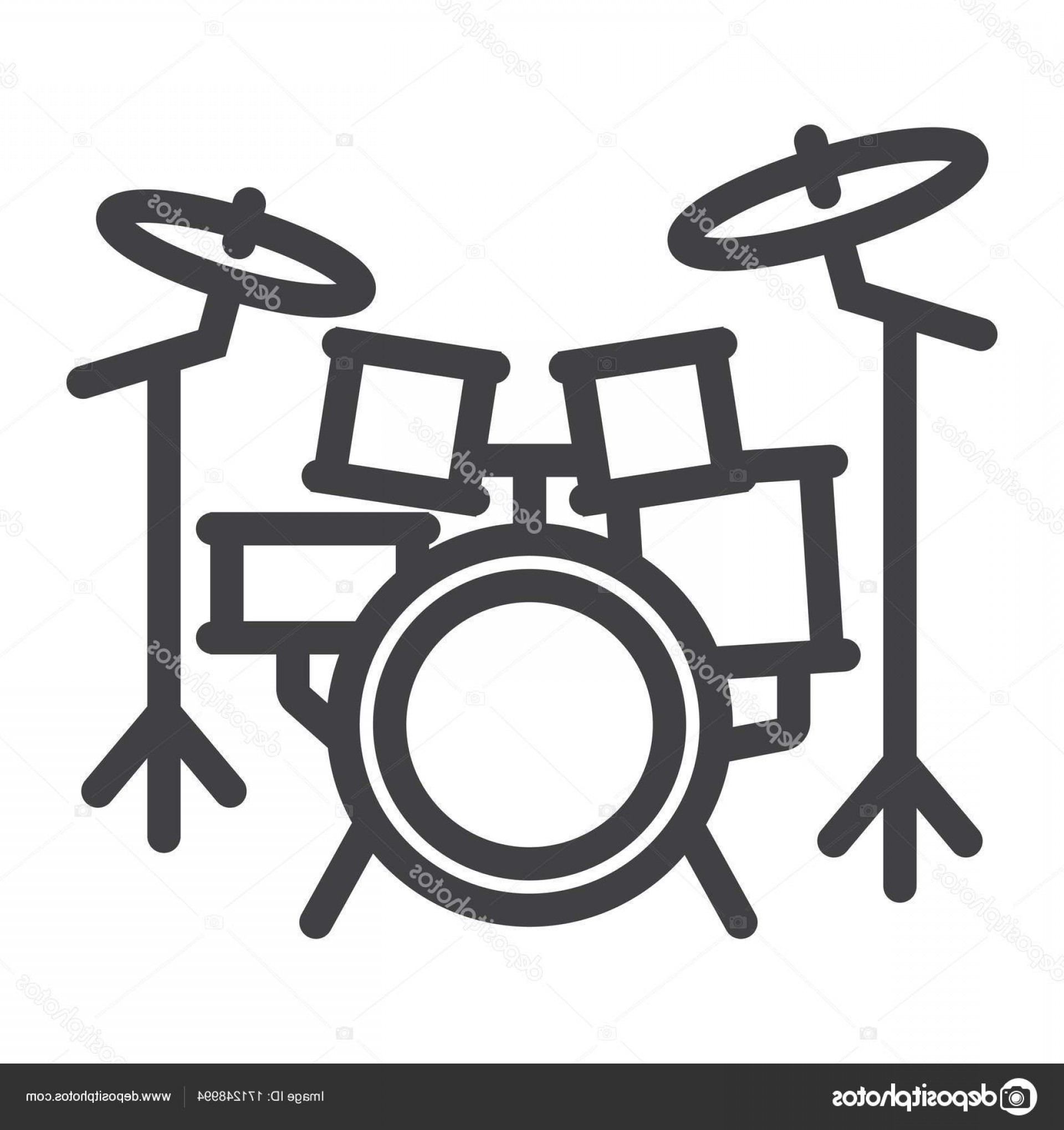 Kick Drum Vector: Stock Illustration Drum Kit Line Icon Music