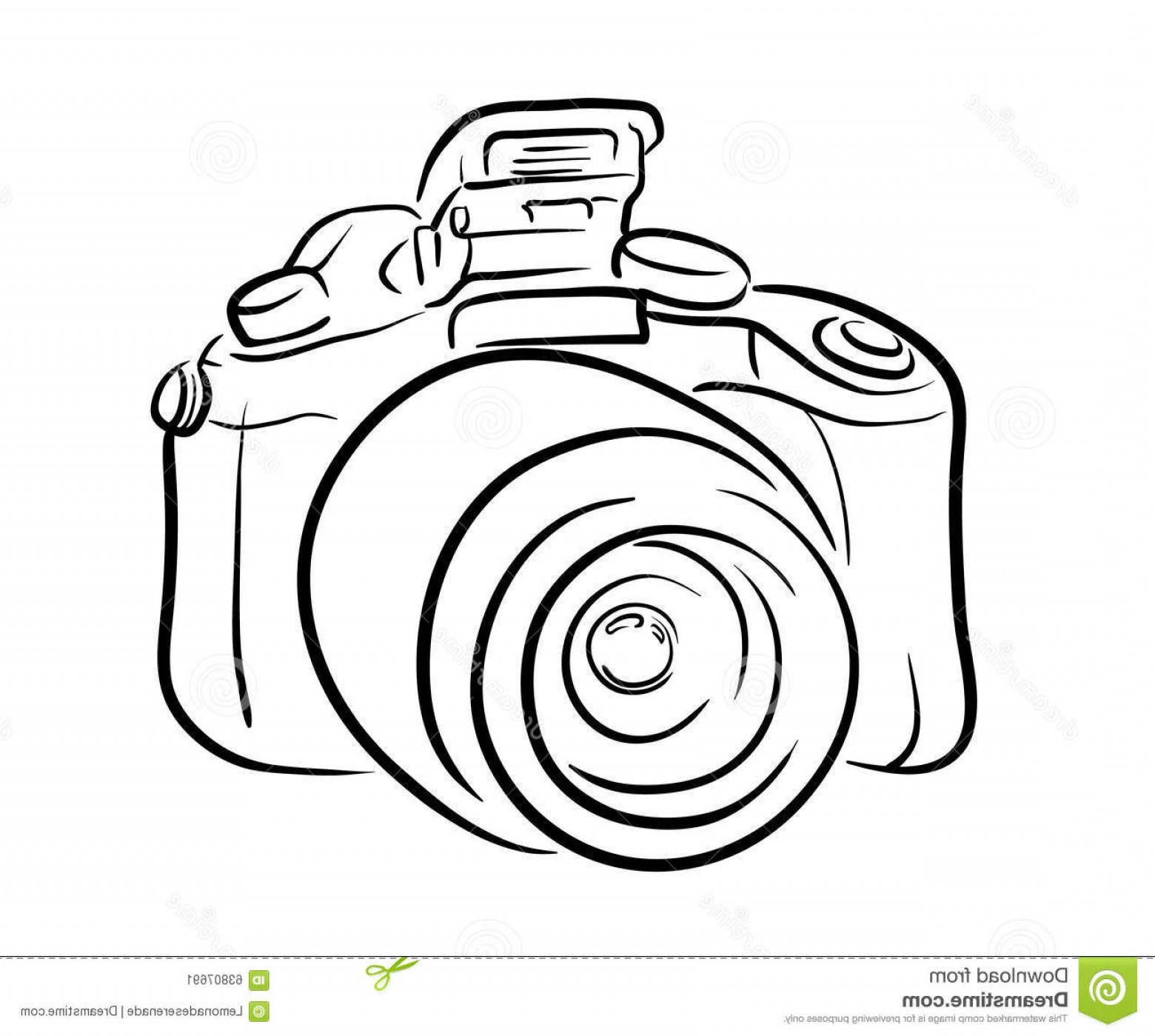 SLR Camera Vector: Stock Illustration Dslr Camera Line Art Hand Drawn Vector Illustration Perfect Company Logo Photography Projects Illustration Image