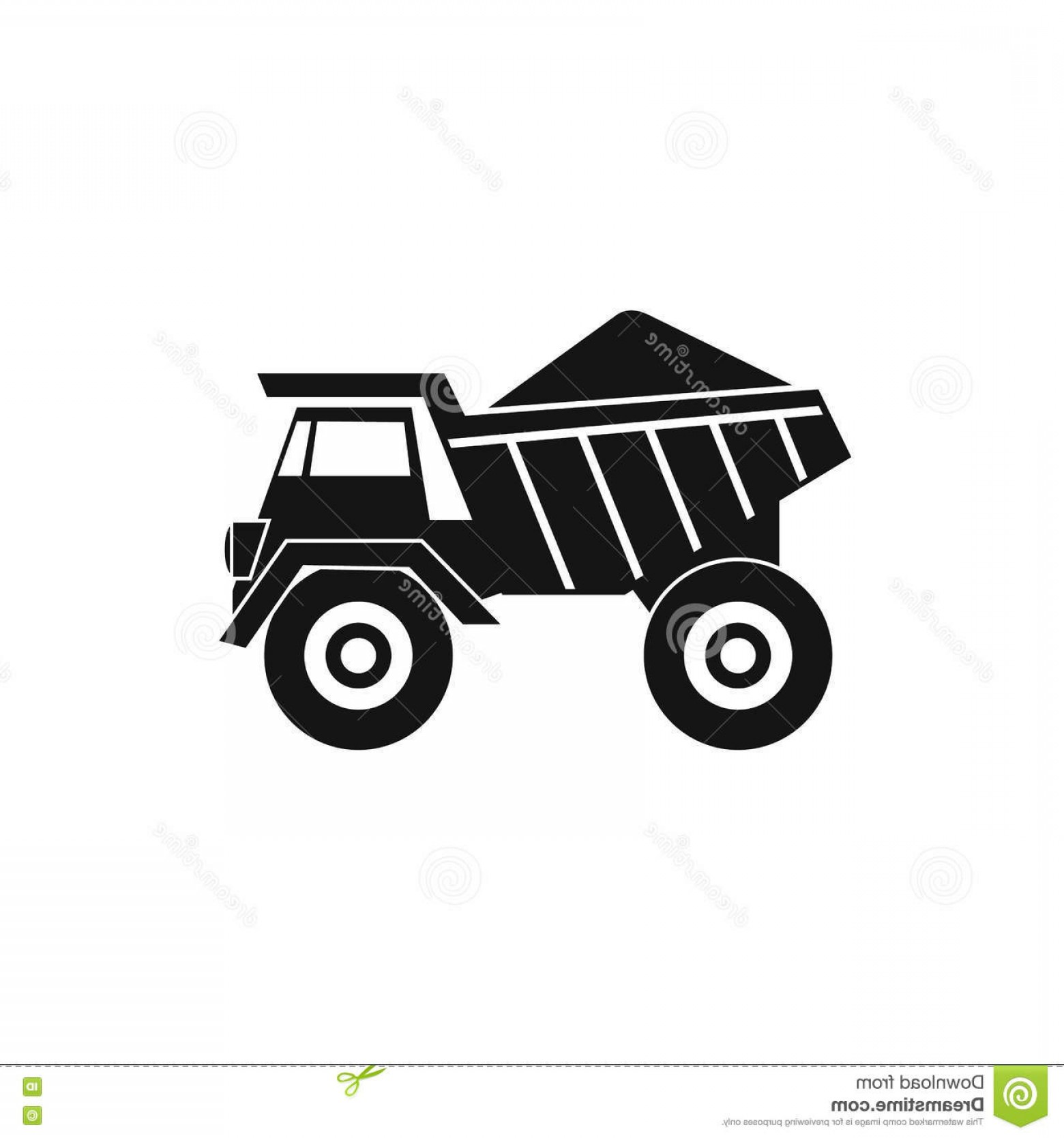 Dump Truck Vector Black And White: Stock Illustration Dump Truck Sand Icon Simple Style Isolated White Background Image