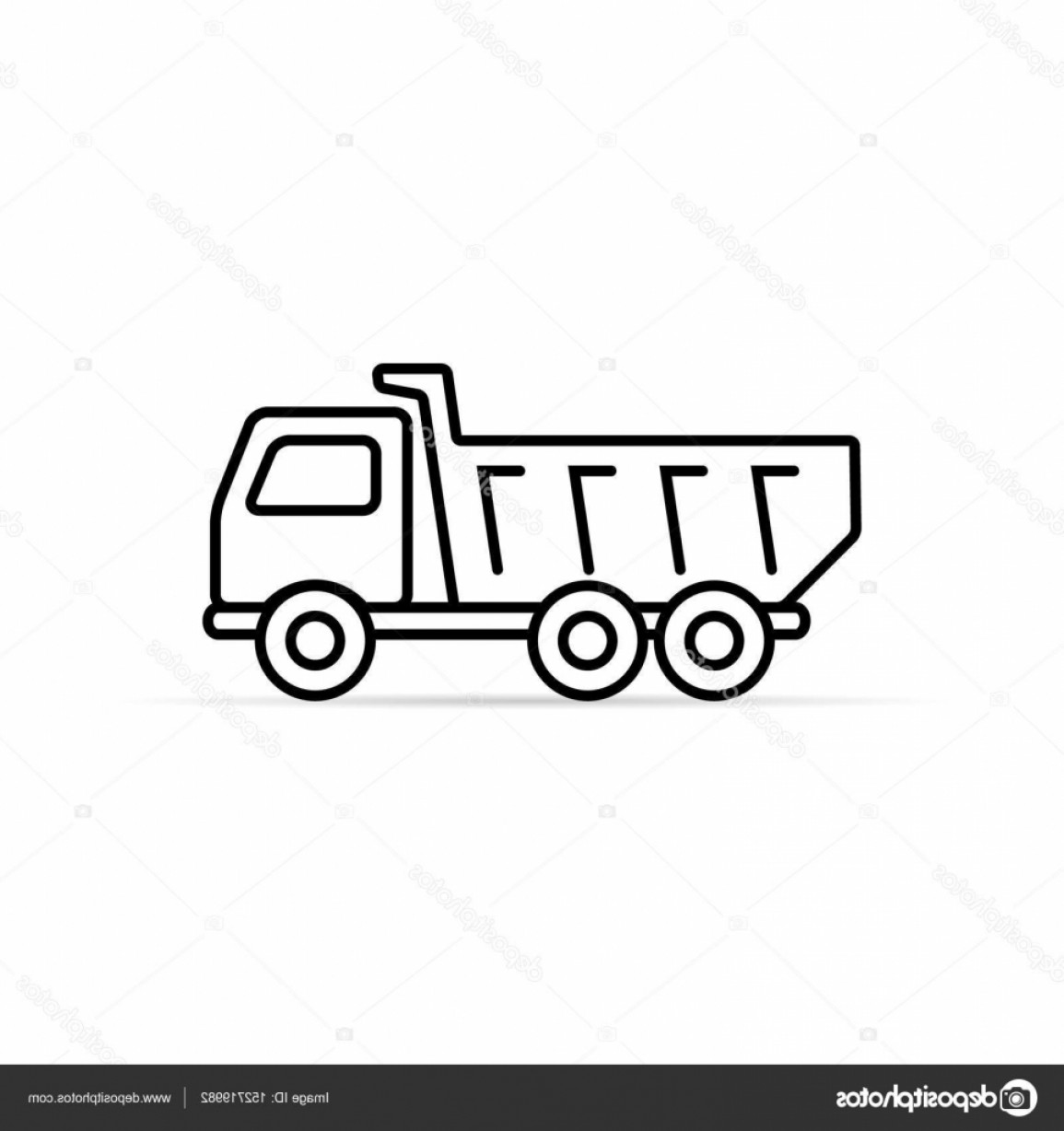Dump Truck Vector Black And White: Stock Illustration Dump Truck Tipper Outline Icon