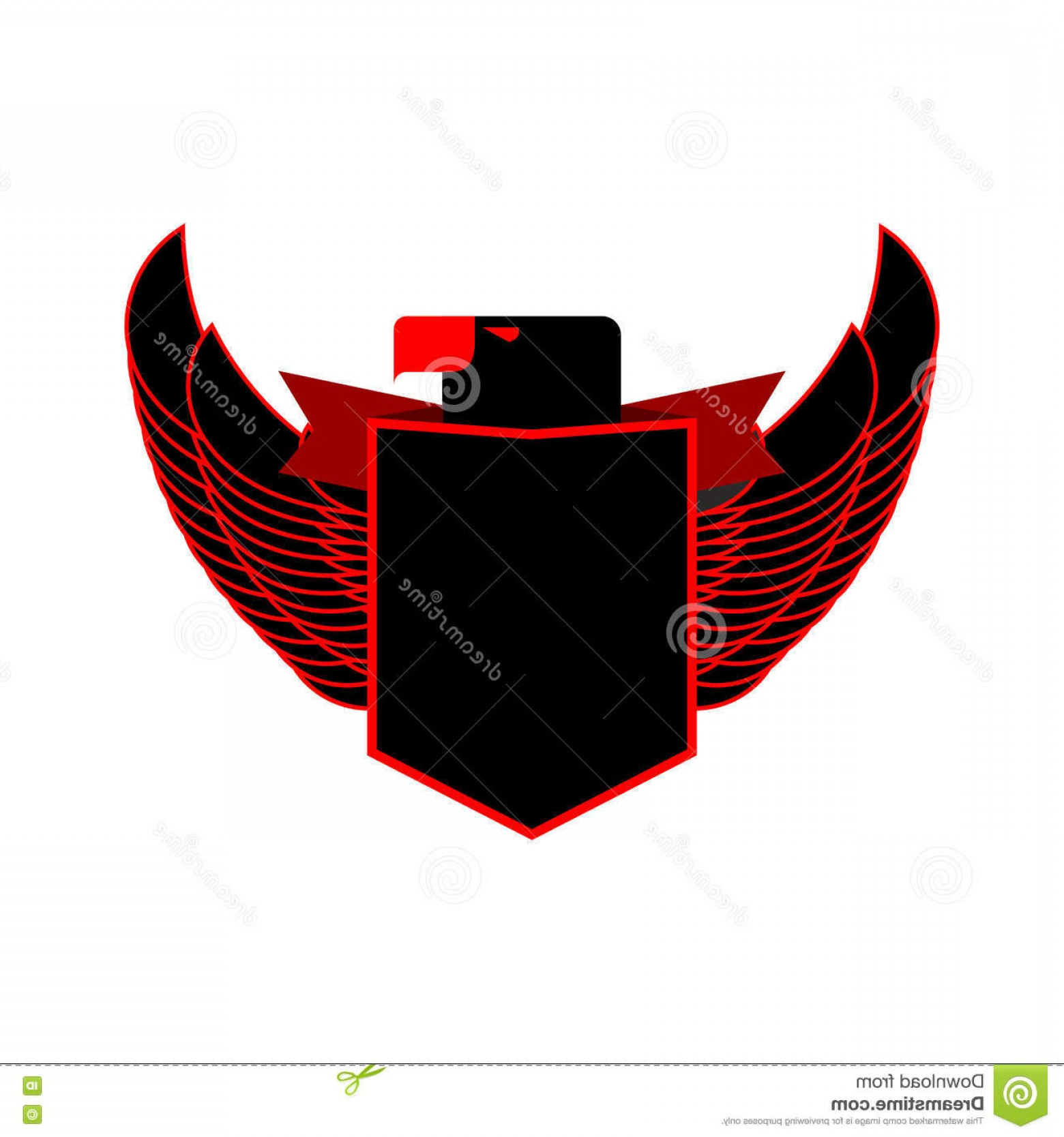 Falcon Wing Vector Art: Stock Illustration Eagle Shield Heraldic Emblem Black Falcon Wings Logo Image
