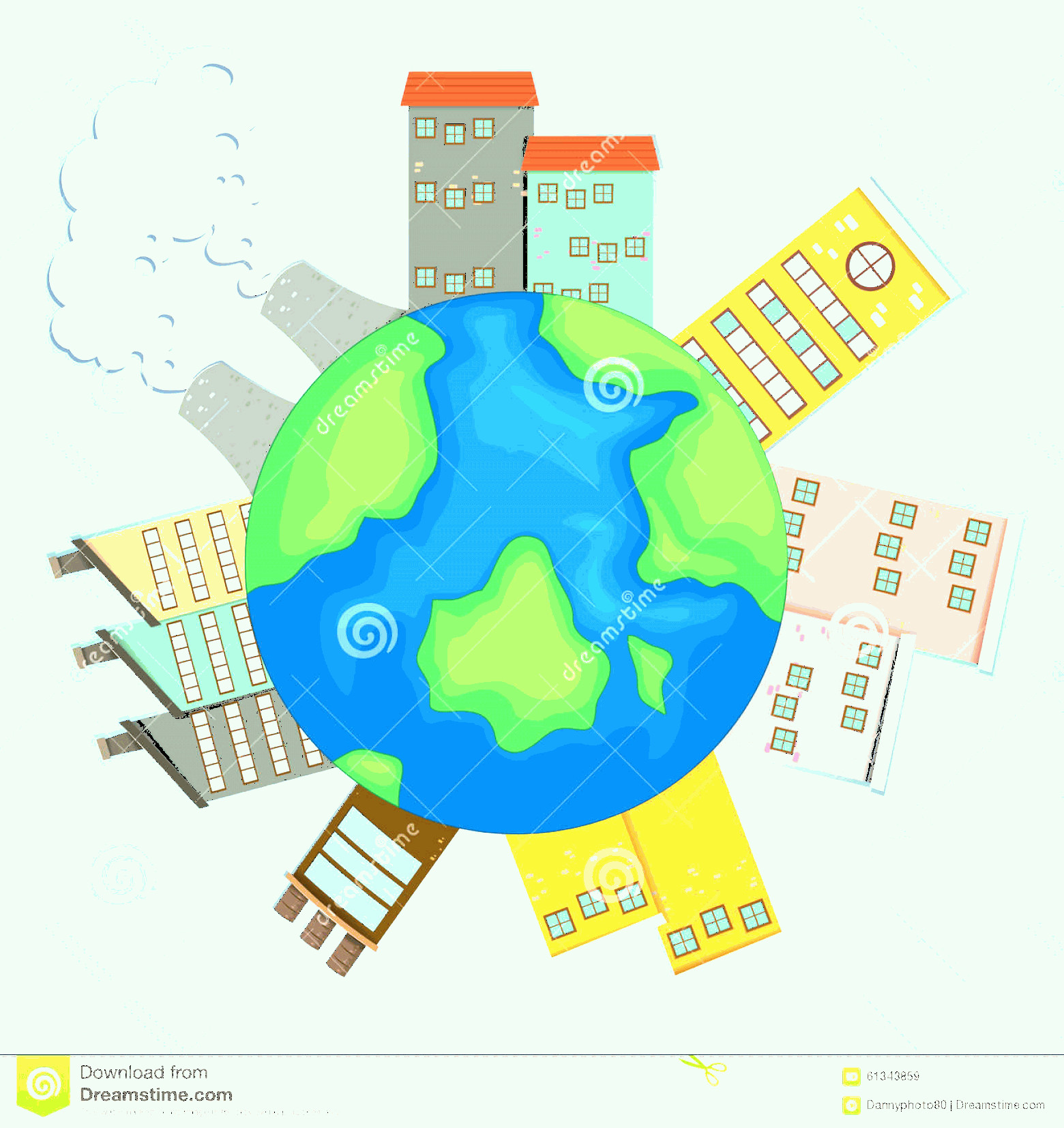 Earth With Buildings Vector: Stock Illustration Earth Buildings Factories Illustration Image