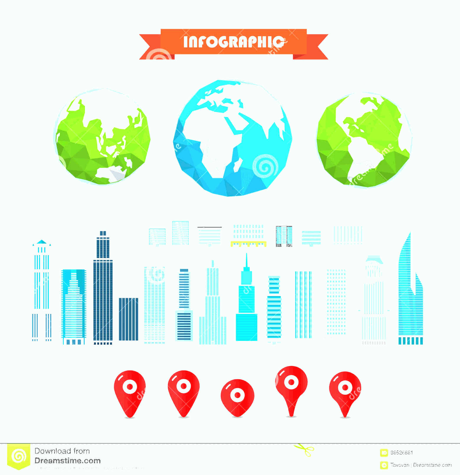 Earth With Buildings Vector: Stock Illustration Earth Buildings Pins Infographic Elements Template Earth Buildings Pins Image