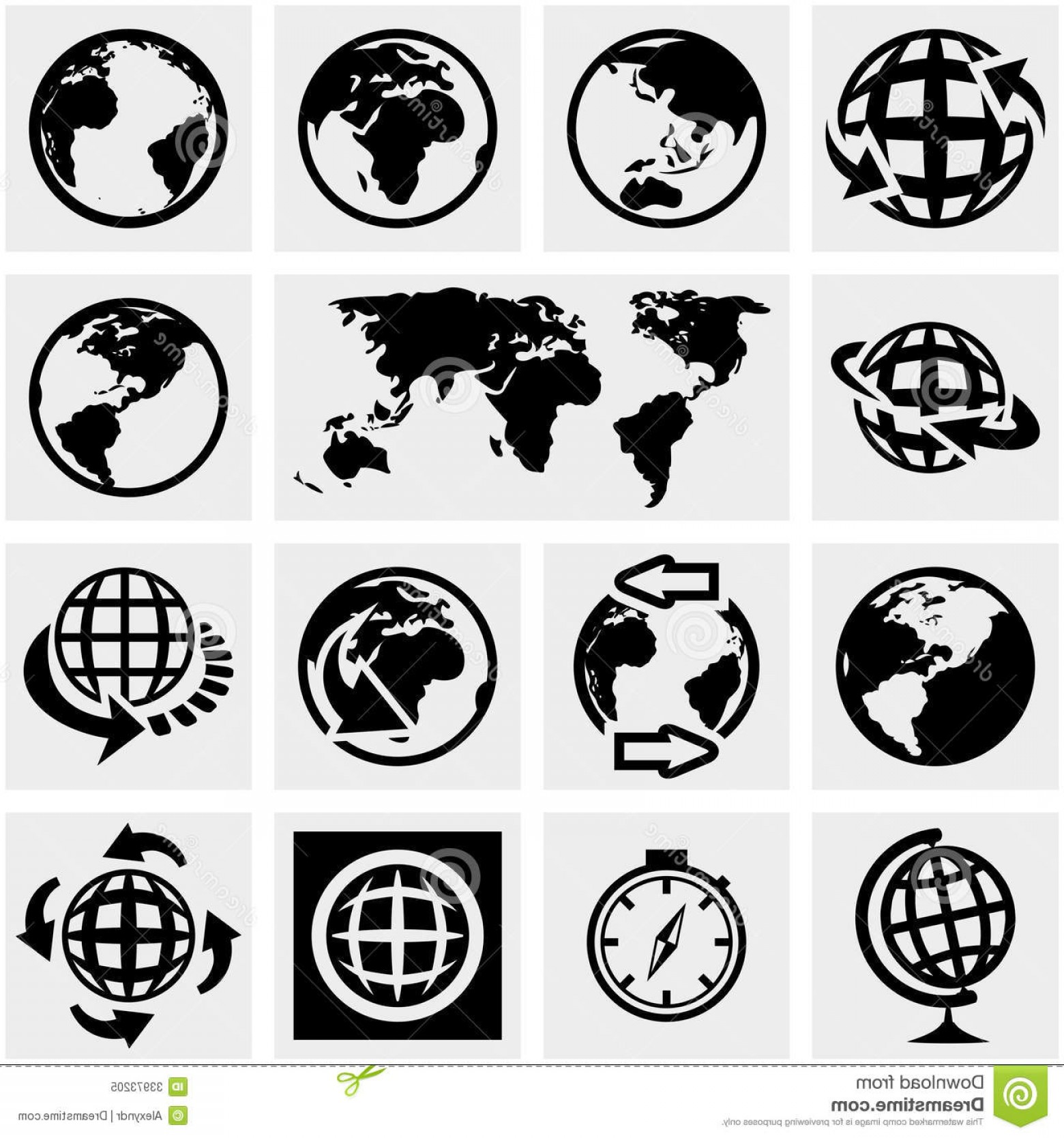 World Icon Vector Simple: Stock Illustration Earth Globe Icon Set Nine Simple Icons Vector File Layered Image