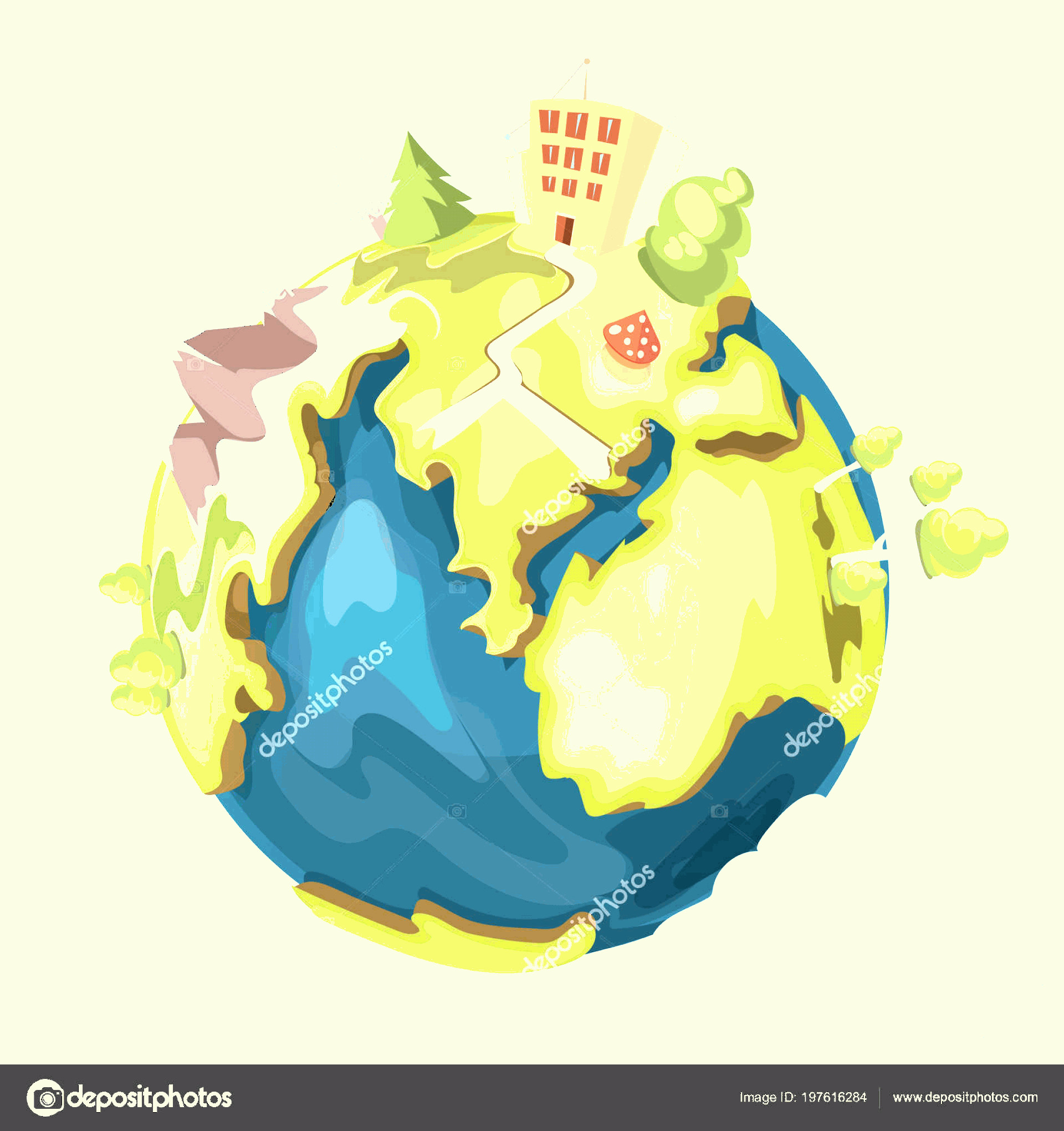 Earth With Buildings Vector: Stock Illustration Earth Planet Buildings Trees Mountains