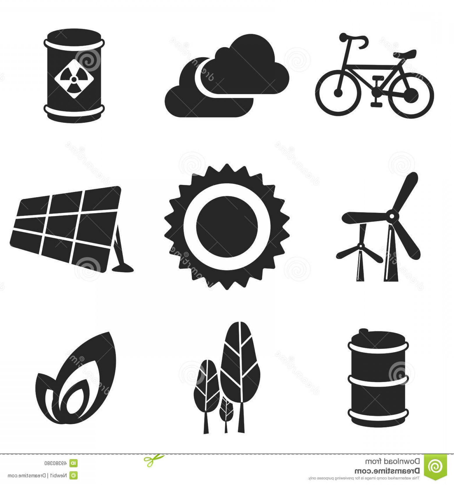 Solar Icon Vector: Stock Illustration Ecology Web Mobile Icons Set Vector Logo Symbols Sun Cloud Trees Bicycle Barrel Leaf Solar Cell Wind Turbine Image
