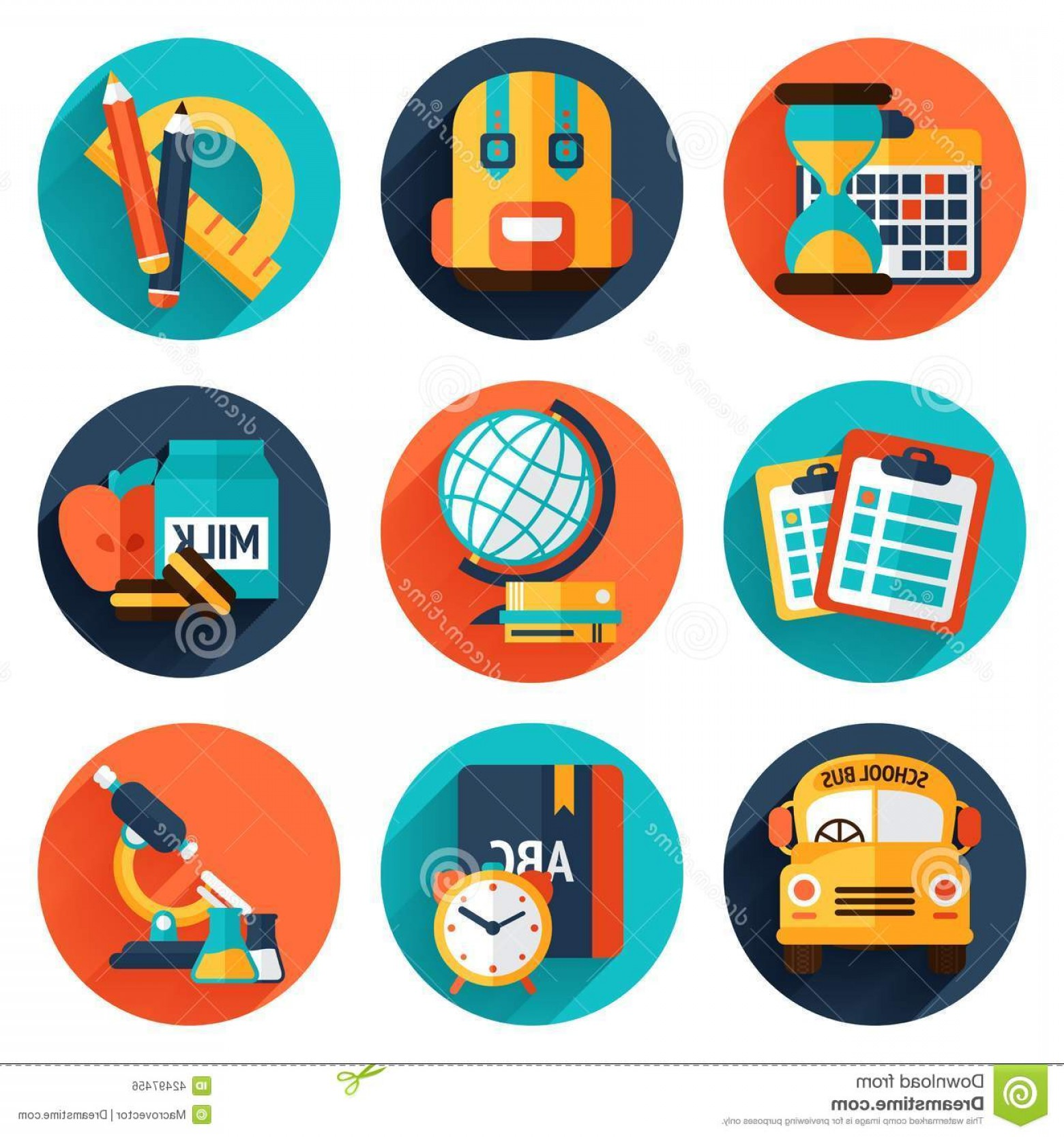 Free Vector Flat Education Icons: Stock Illustration Education Flat Icons Set Knowledge Science College School Supplies Isolated Vector Illustration Image