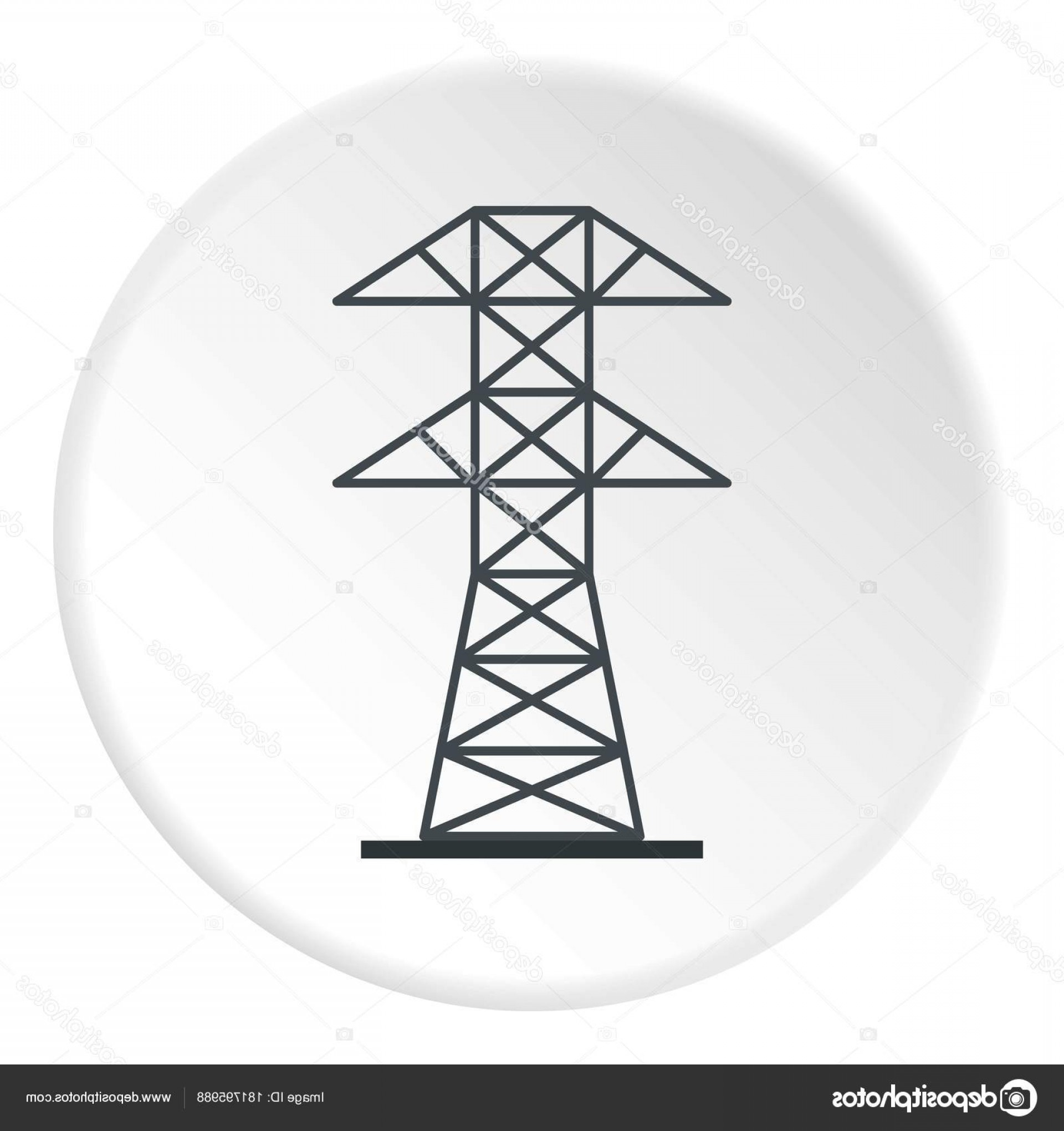 Vector Power Plant Utility: Stock Illustration Electric Power Station Icon Circle