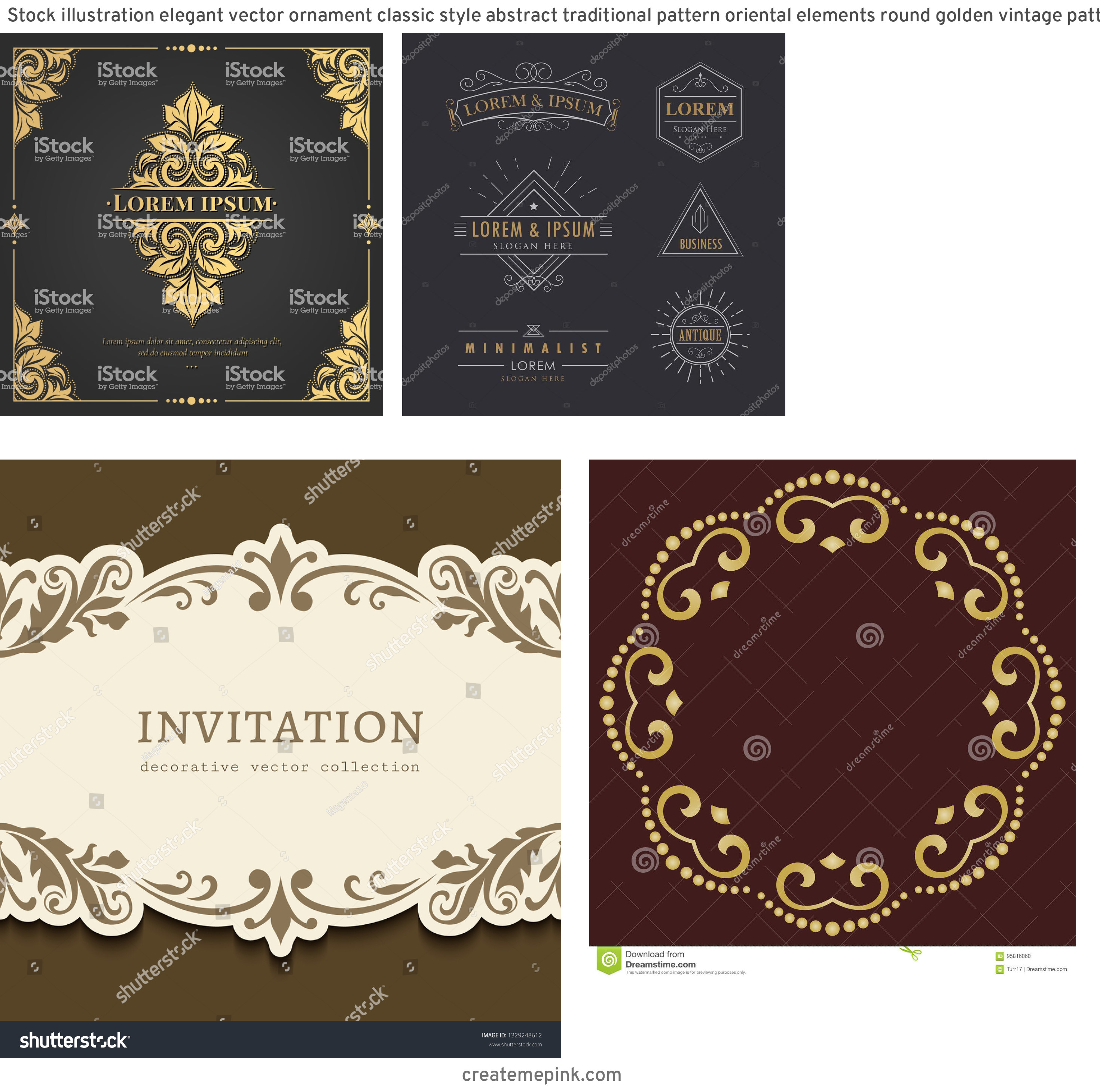Elegant Vector Flourishes: Stock Illustration Elegant Vector Ornament Classic Style Abstract Traditional Pattern Oriental Elements Round Golden Vintage Pattern Image