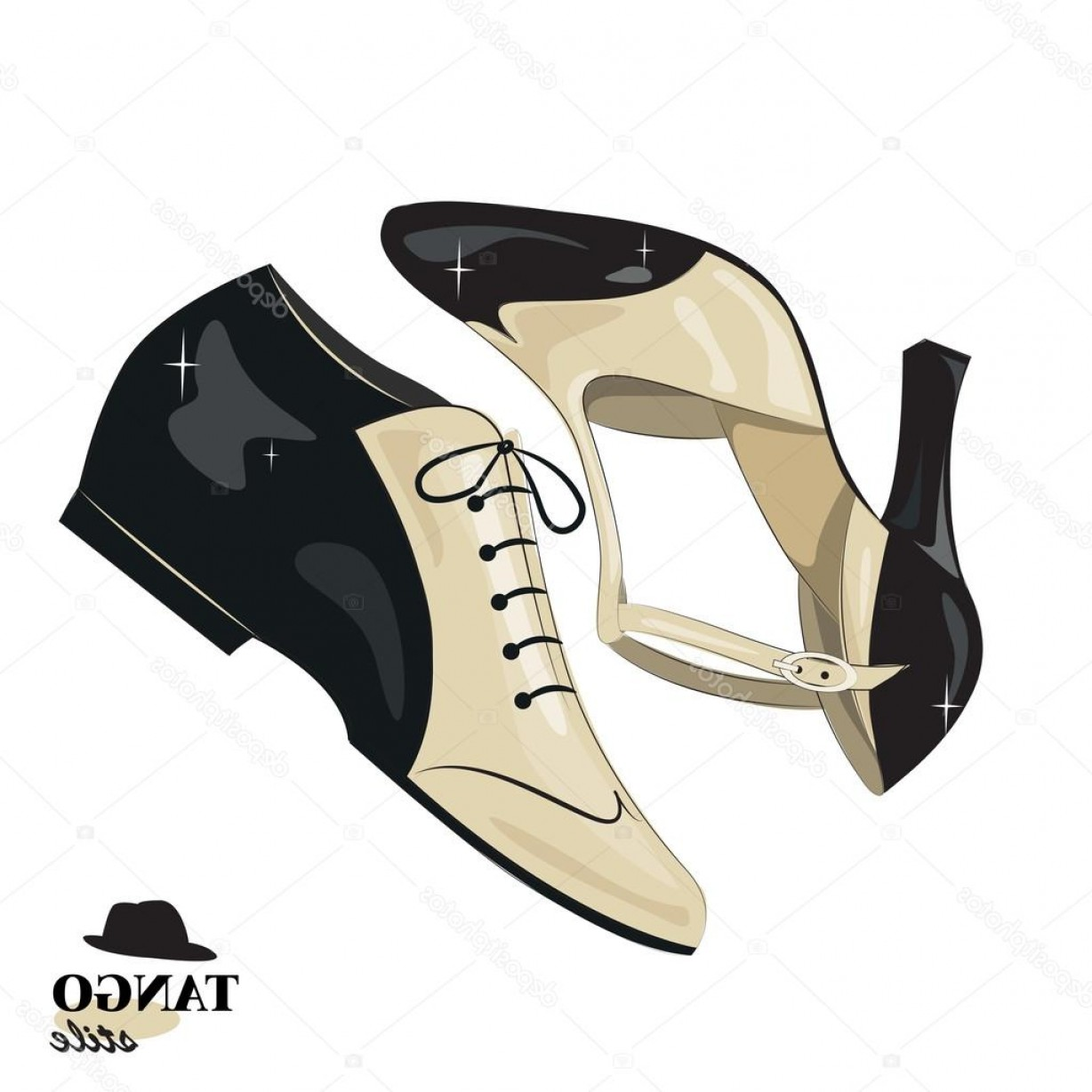 Vector Dancing Shoes: Stock Illustration Elegant Womens And Mens Shoes