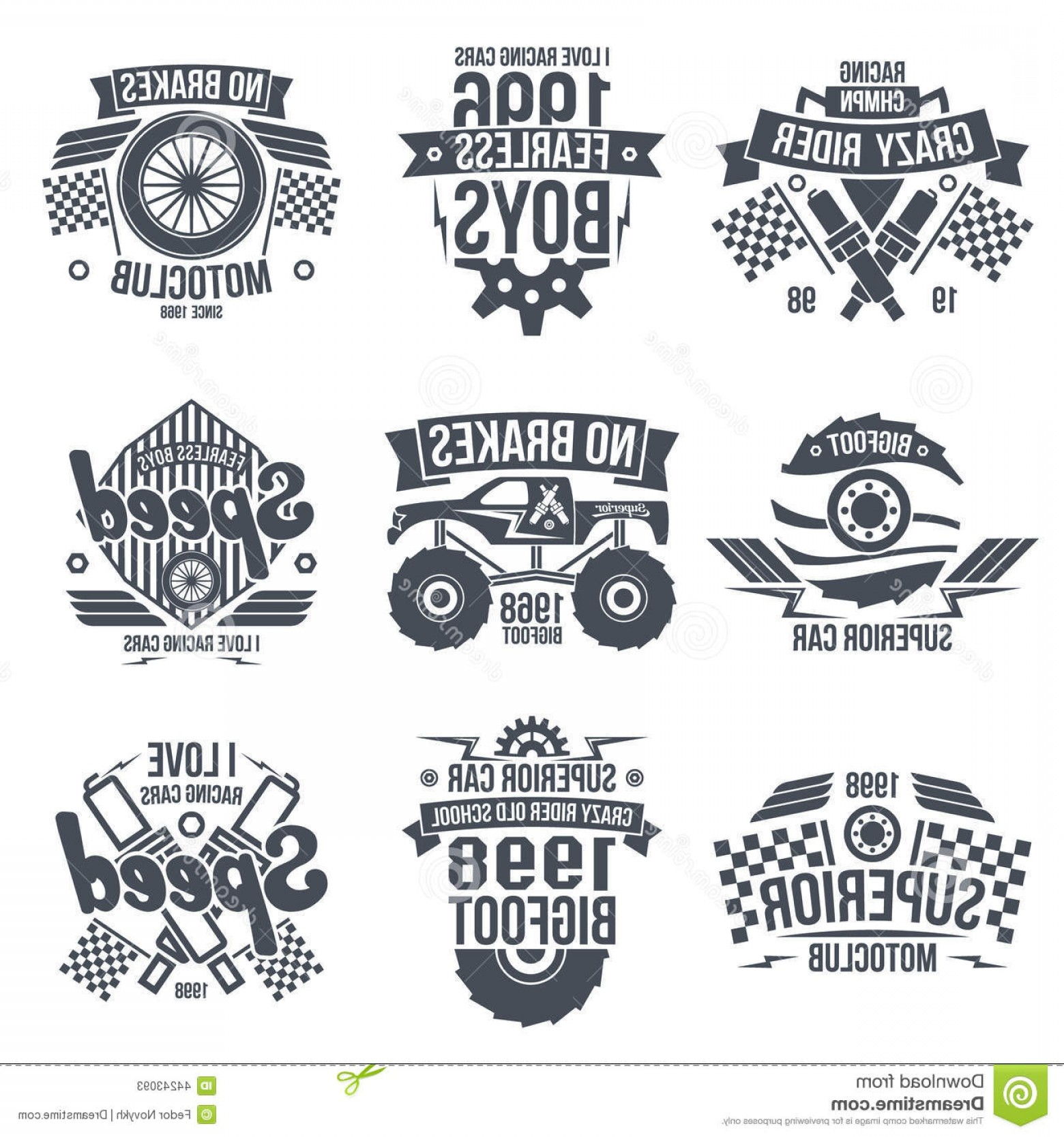 Black And White Vector Racing Graphics: Stock Illustration Emblems Retro Vintage Race Super Cars Graphic Design T Shirt Dark Print White Background Image