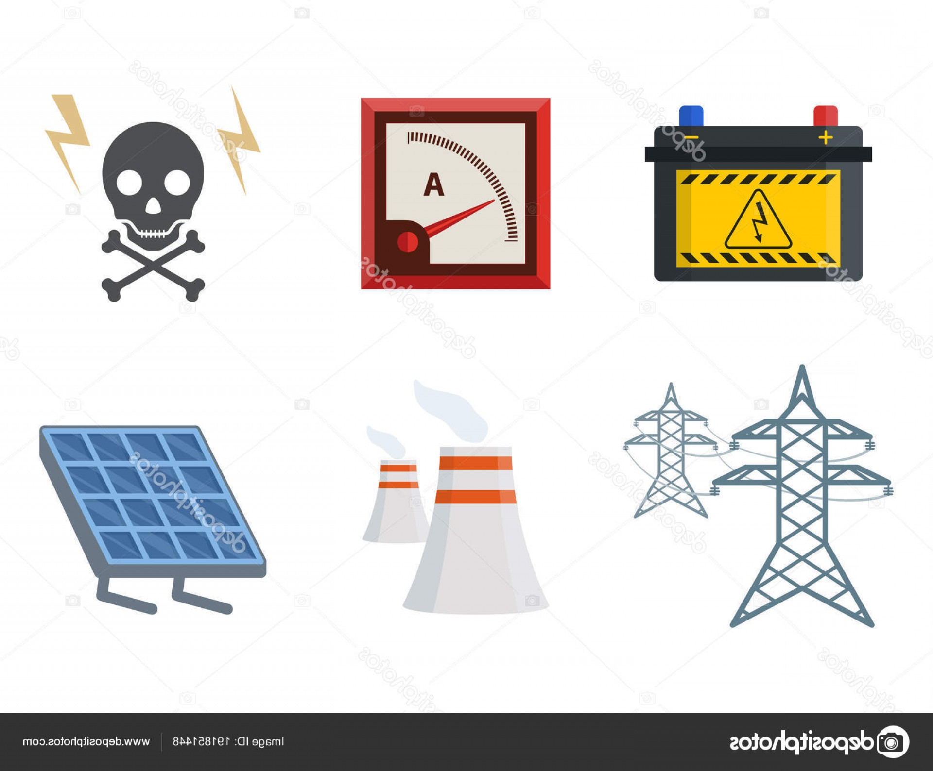 Battery Electricity Vector Images: Stock Illustration Energy Electricity Vector Power Icons