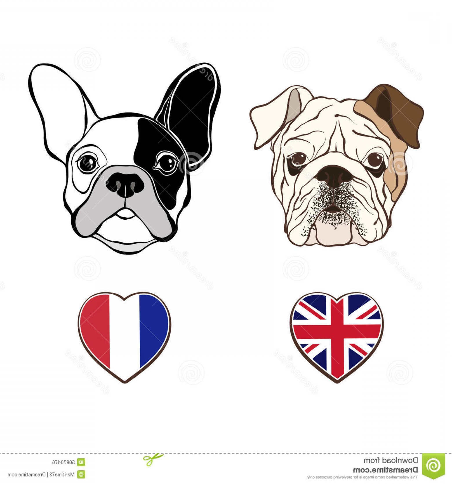 Marine Bulldog Logo In Vector: Stock Illustration English Bulldog Face French Bulldog Face Heart Flags Bulldogs Vector Illustration Elements Design Image