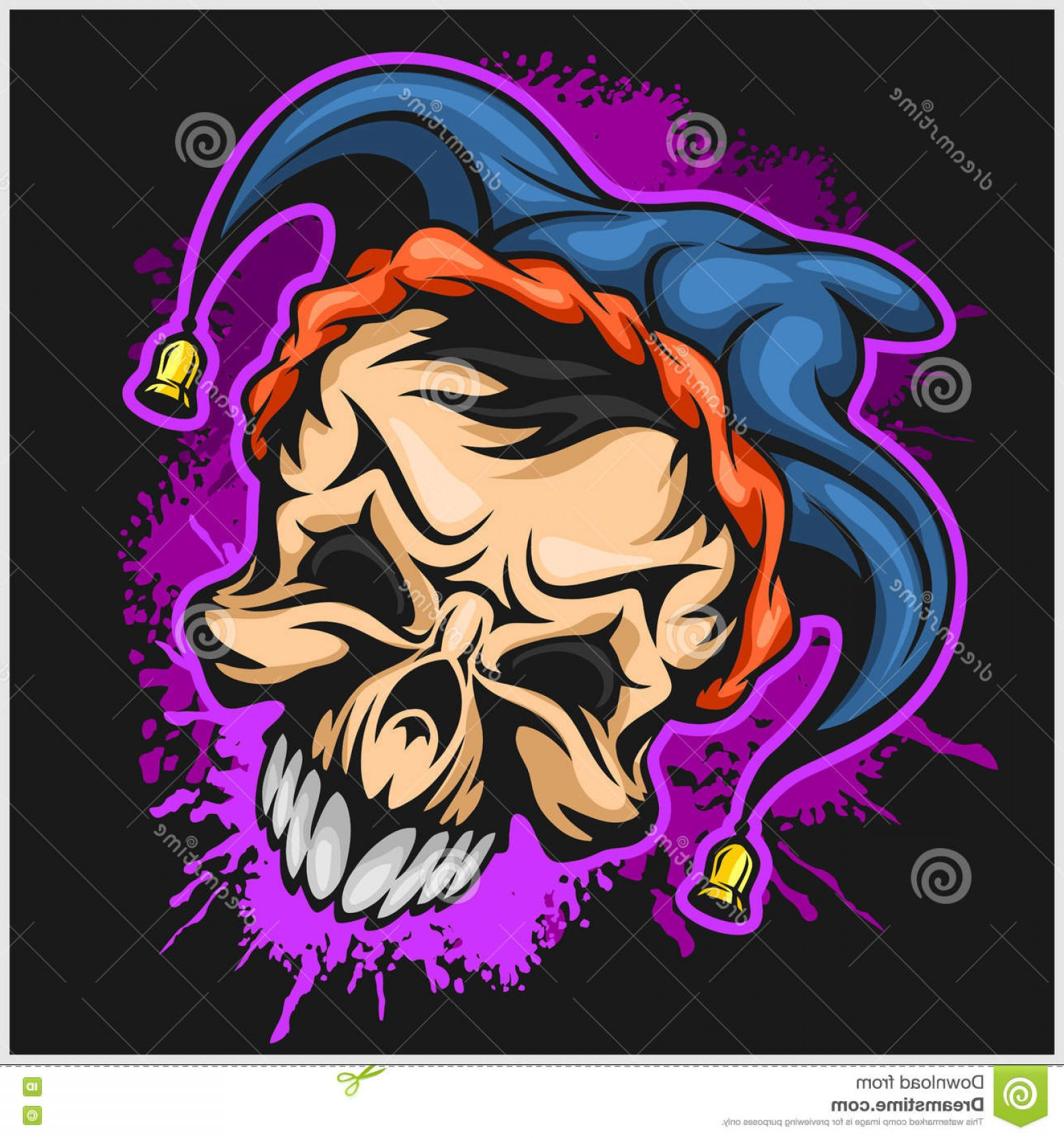 Pennywise Clown Vector: Stock Illustration Evil Scary Clown Halloween Monster Joker Character Vector Illustration Grunge Background Image