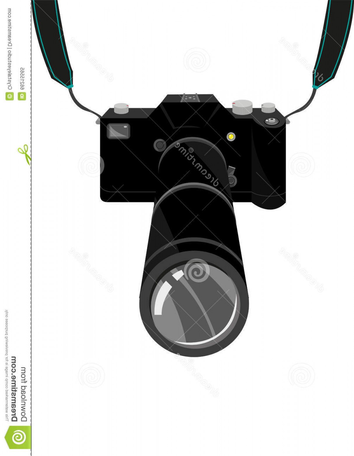SLR Camera Vector: Stock Illustration Expensive Slr Film Digital Single Lens Reflex Dslr Camera Strap Zoom Lens Editable Clip Art Illustration Black Image