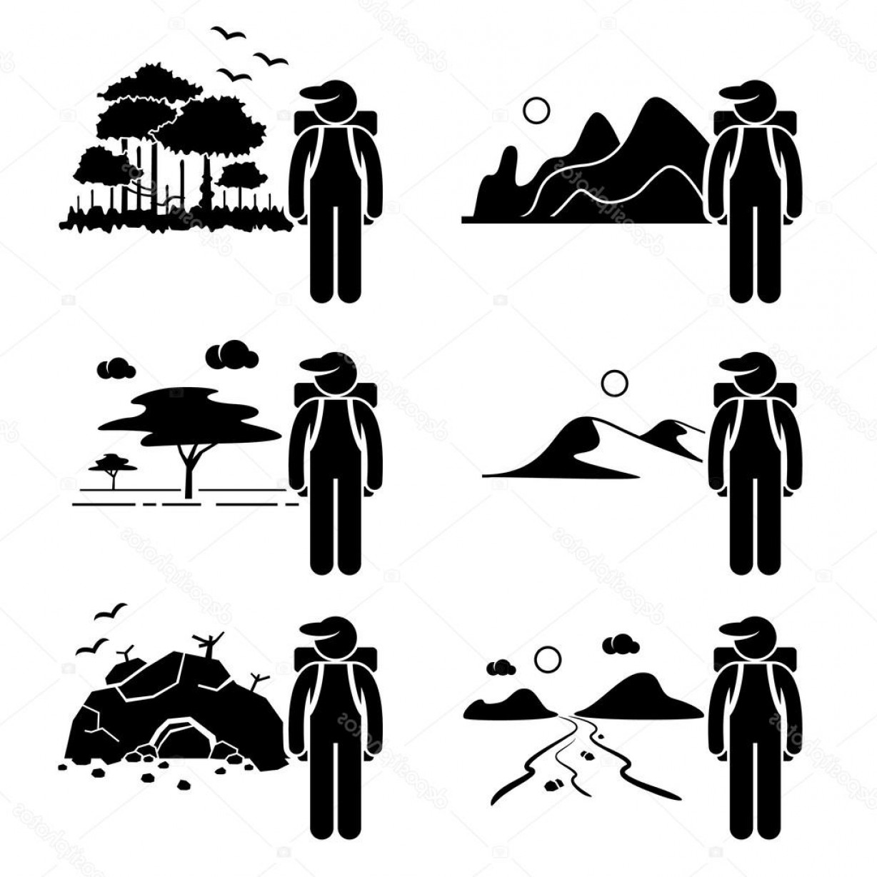 Cave Vector: Stock Illustration Explorer Adventure At Mountain Rainforest