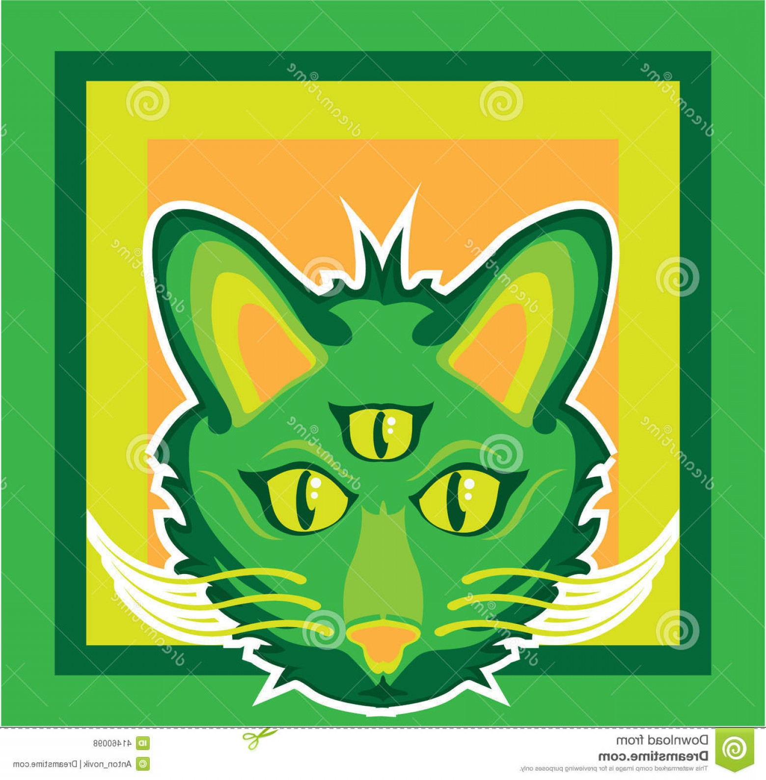 Vector Cats 3: Stock Illustration Eyed Cat Illustration Clip Art Simplistic Image