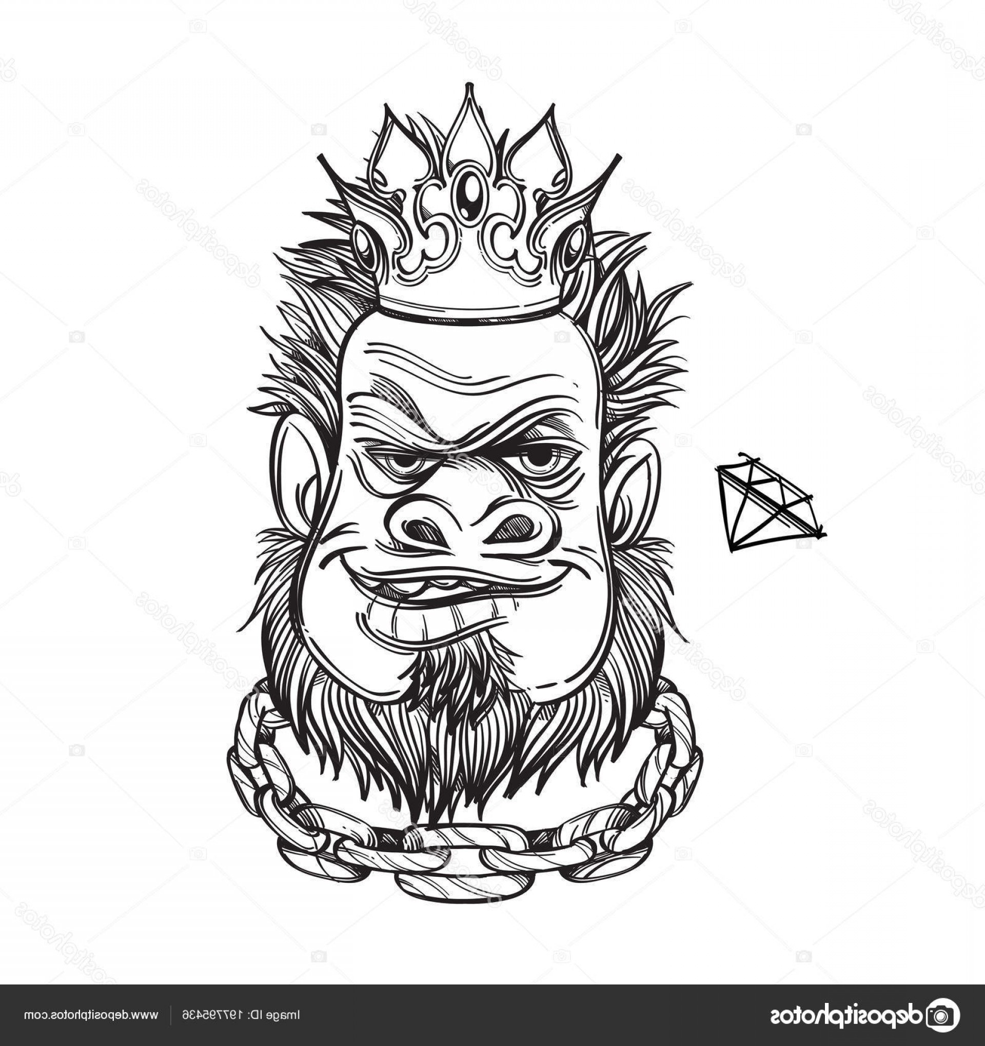 Crown White Outline Vector: Stock Illustration Face Bearded Man Crown Chain