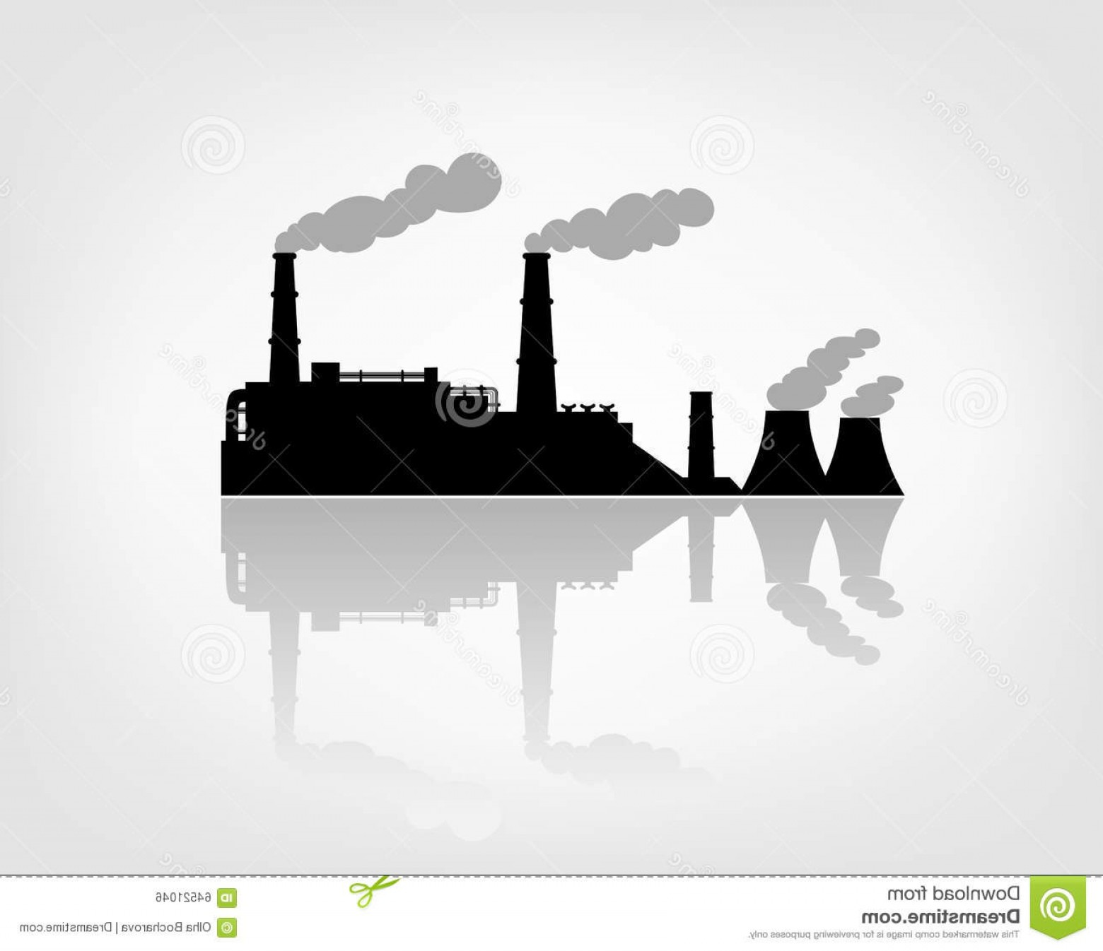 Factory Vector Skyline: Stock Illustration Factory Silhouette White Background Image