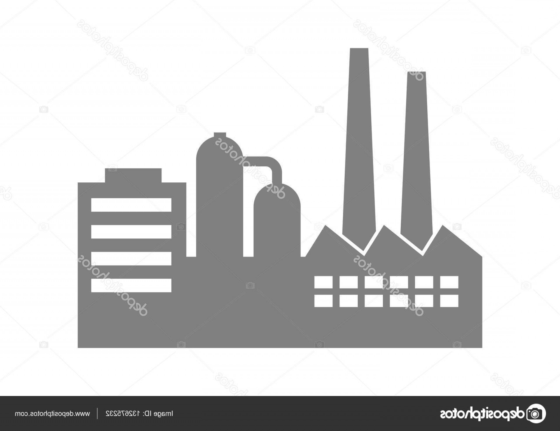 Factory Vector Skyline: Stock Illustration Factory Vector Icon On White