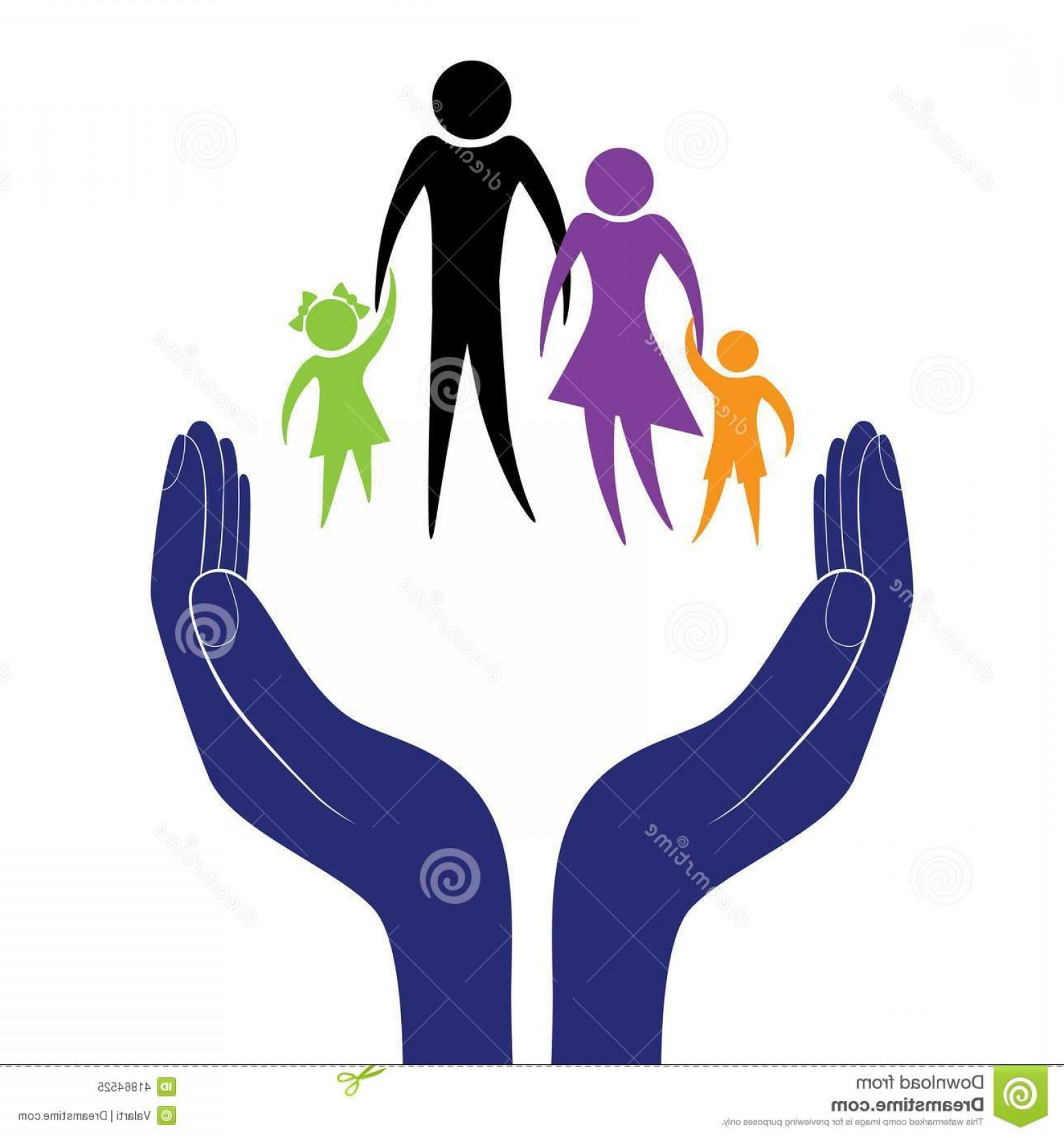 Vector Health Insurance: Stock Illustration Family Care Vector Hand People Encouragement Help Support Moral Life Insurance Health Social Person Image