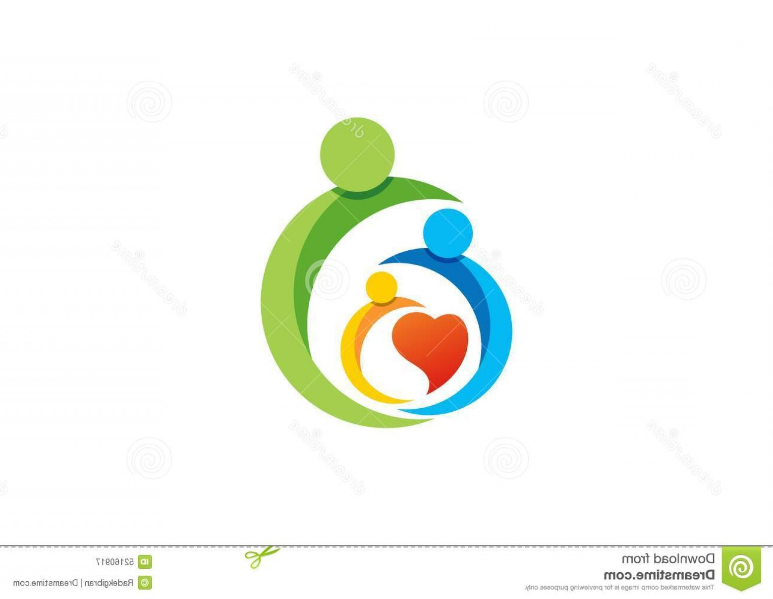 Health Vector Logo: Stock Illustration Family Parent Kid Heart Logo Parenting Care Circle Health Education Symbol Icon Design Vector Image