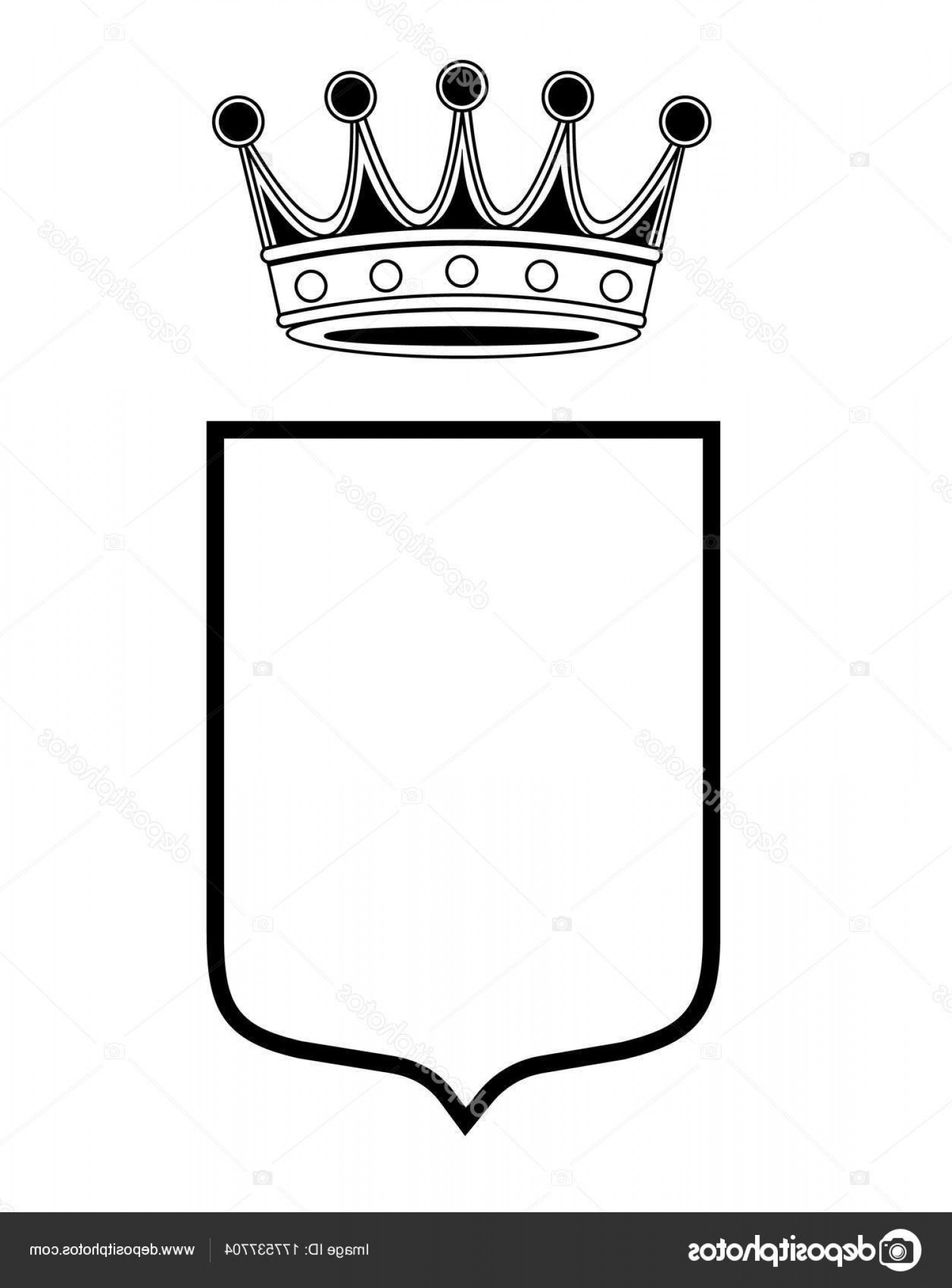 Crest And Coat Of Arms Vector Silhouette: Stock Illustration Family Shield Template Crown Coat