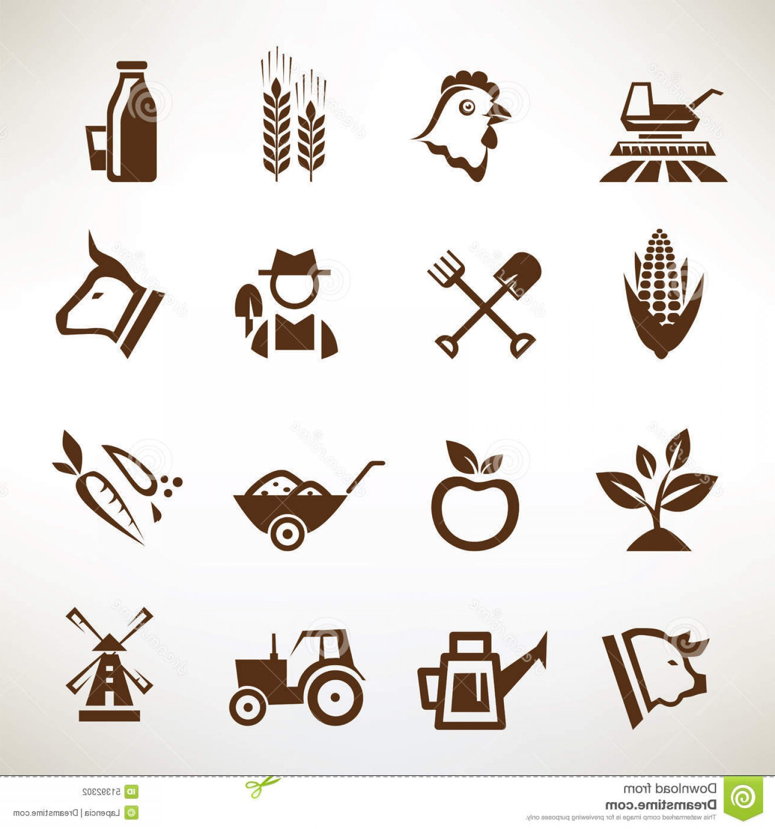 Agriculture Vector Icons: Stock Illustration Farm Agriculture Vector Icons Collection Image