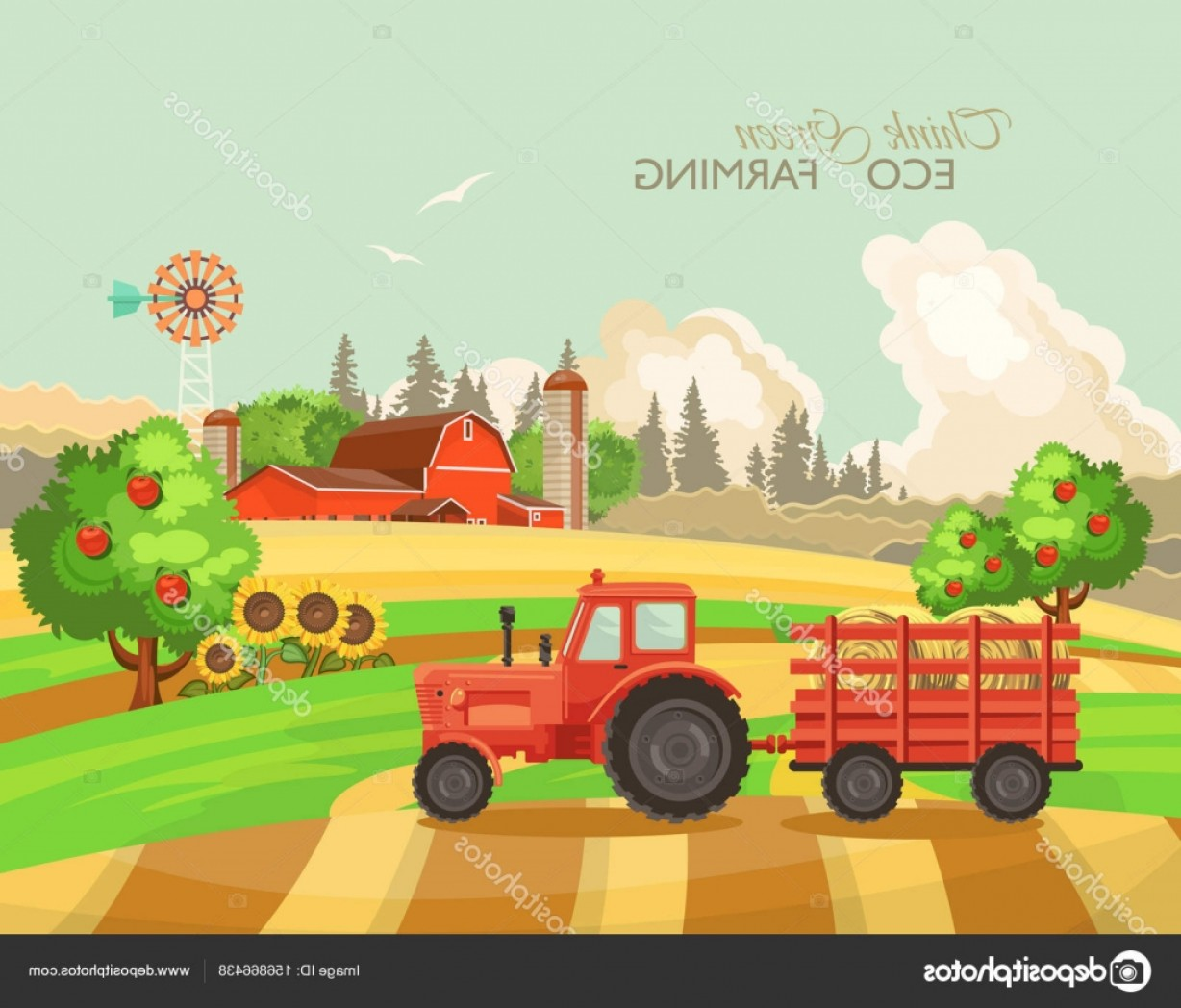 Farm Vector Illustration: Stock Illustration Farm Rural Landscape Agriculture Vector