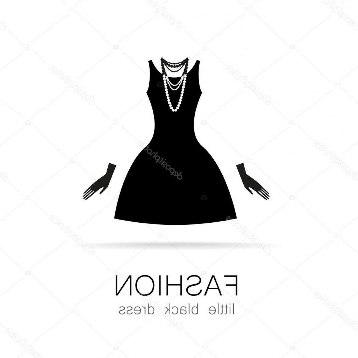 Vector Images Of Black And White Dresses: Stock Illustration Fashion Little Black Dress Template