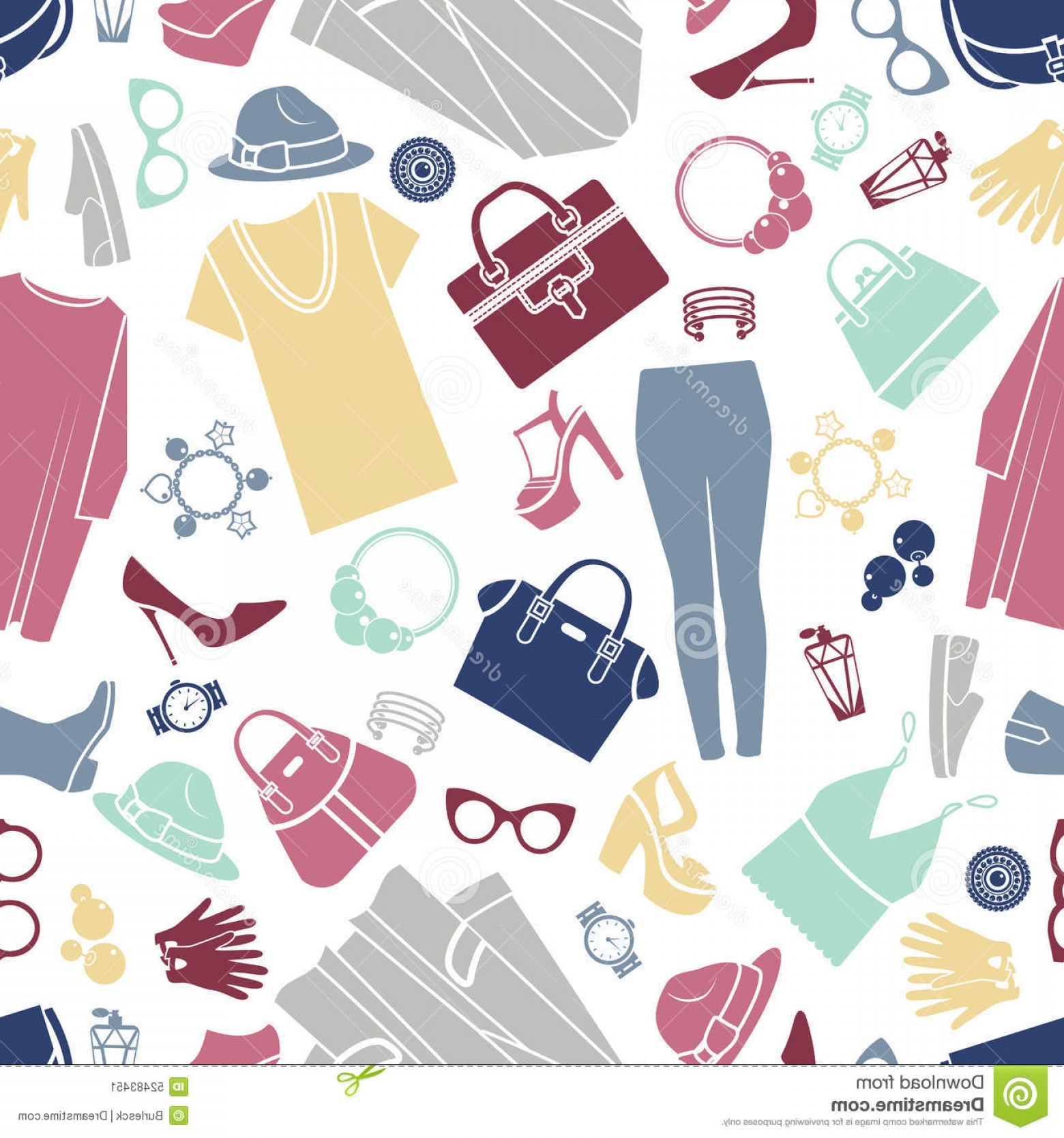 Vector Background Clip Art: Stock Illustration Fashion Shopping Icons Seamless Vector Background Pattern Design Illustration Silhouette Accessories Image