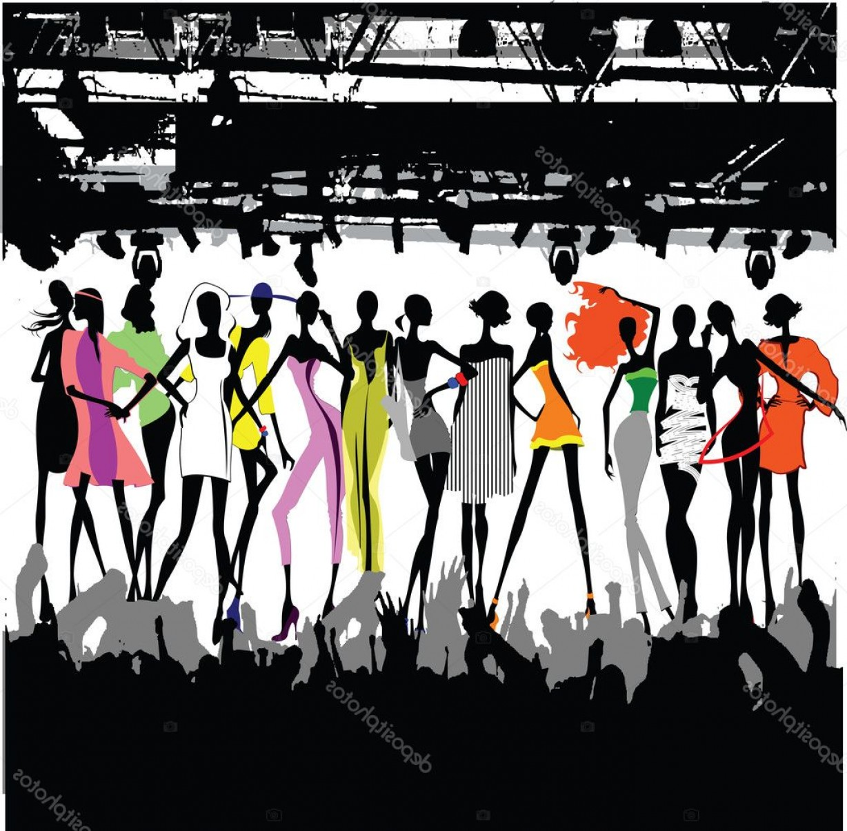 Fashon Shows Vectores: Stock Illustration Fashion Show Crowd Vector