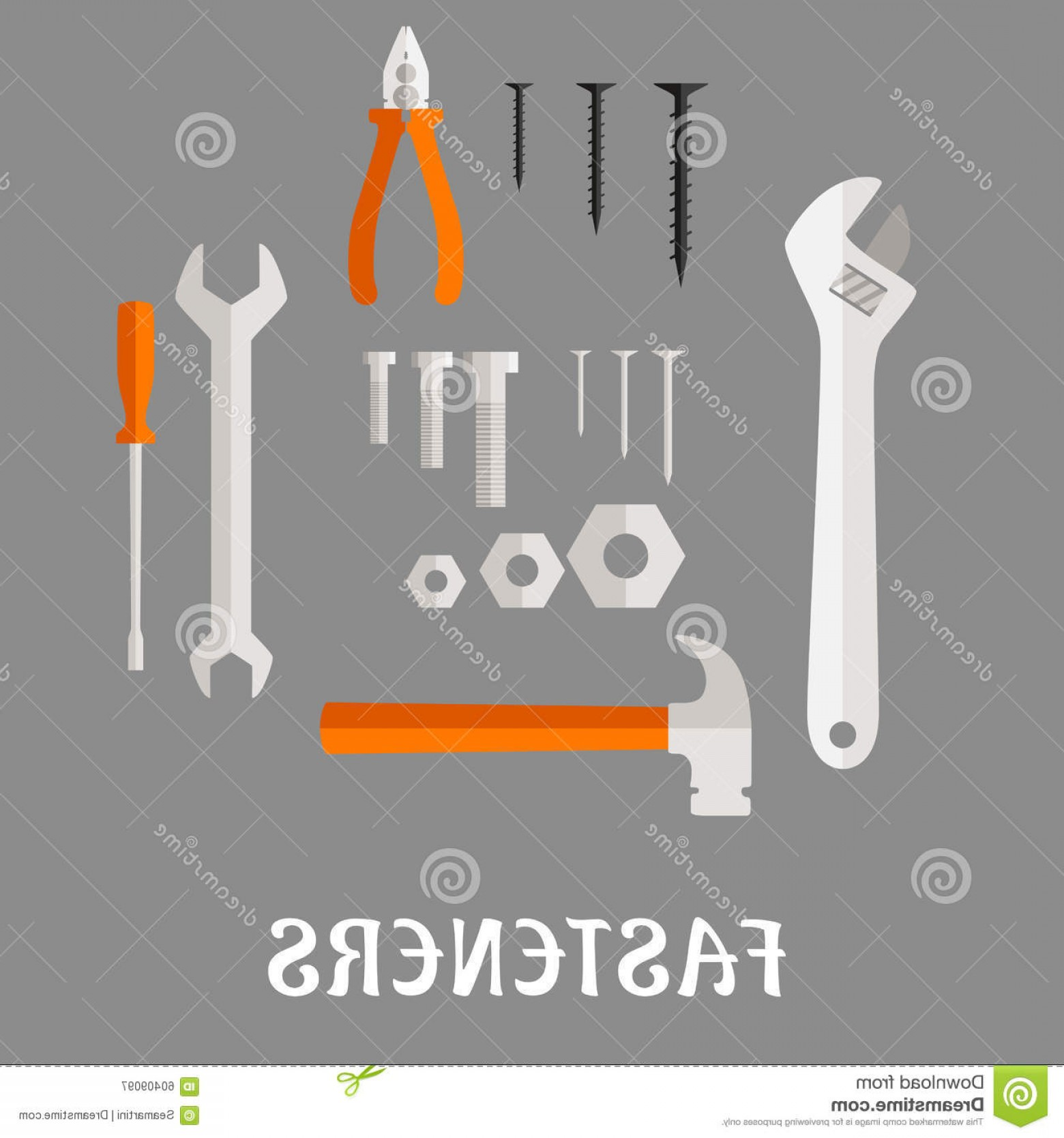 Fastener Vector: Stock Illustration Fasteners Tools Flat Icons Screws Nails Bolts Nuts Hammer Wrench Screwdriver Pliers Adjustable Spanner Gray Image