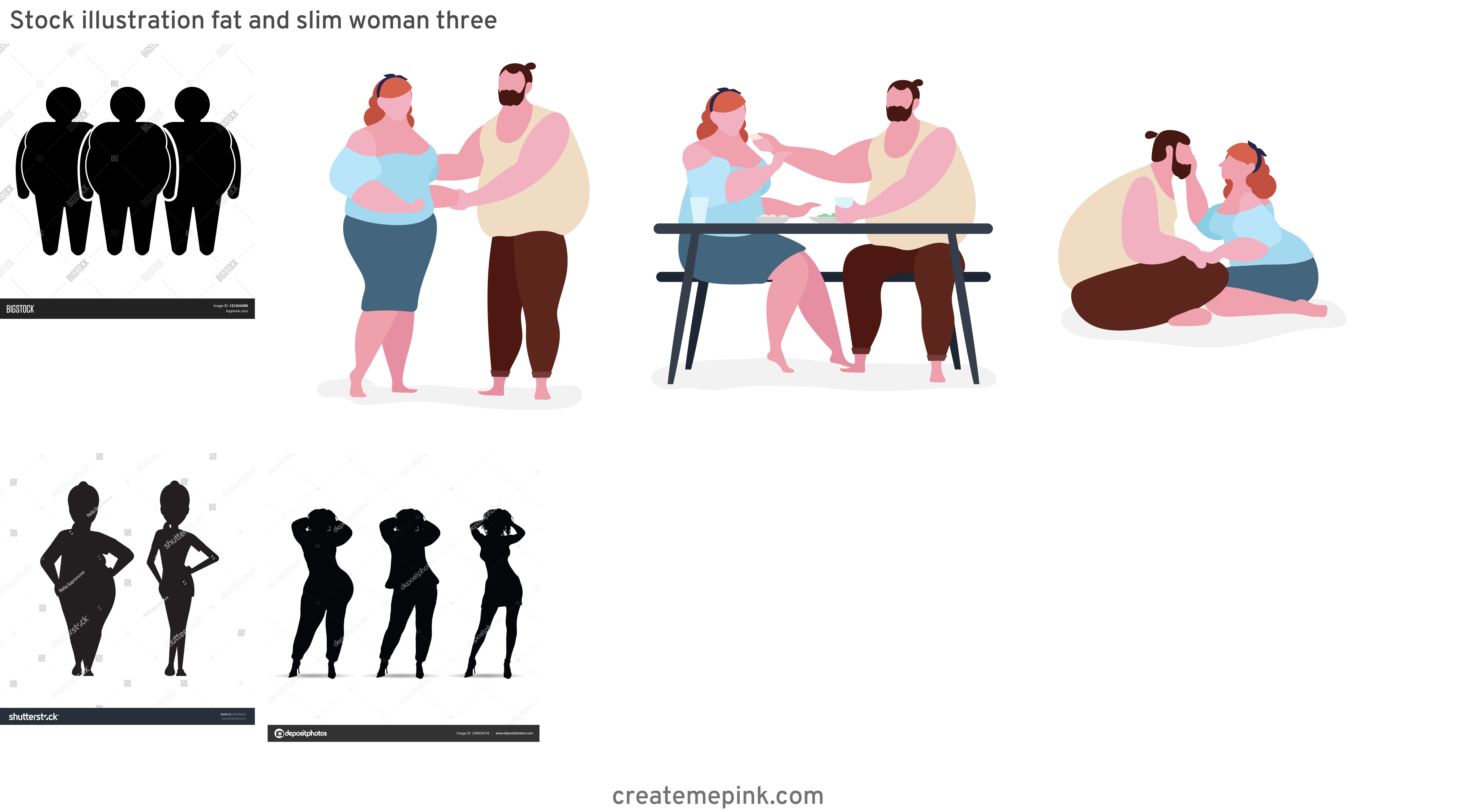 People Silhouette Vector Illustration Of Fat: Stock Illustration Fat And Slim Woman Three