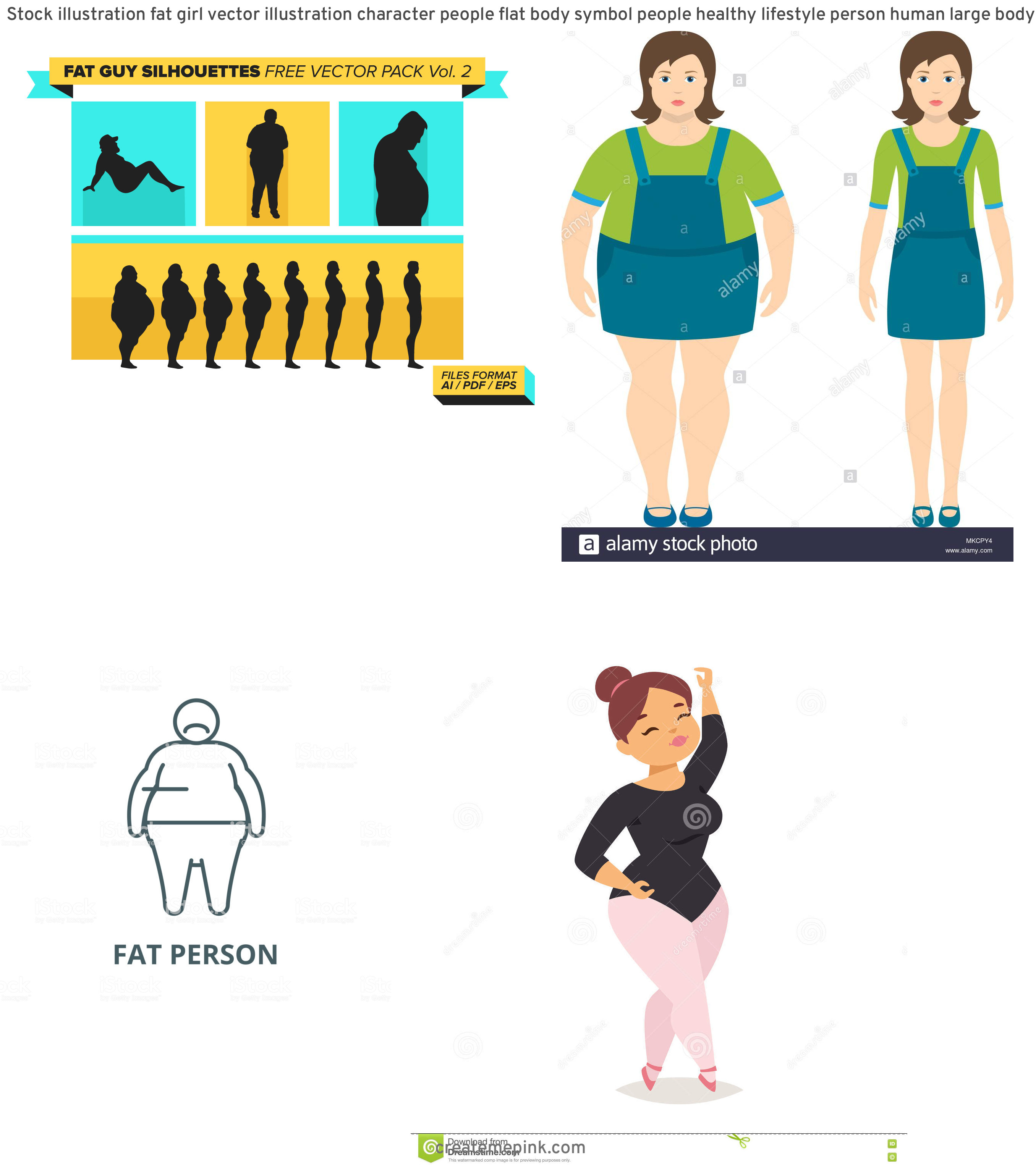 People Silhouette Vector Illustration Of Fat: Stock Illustration Fat Girl Vector Illustration Character People Flat Body Symbol People Healthy Lifestyle Person Human Large Body Image