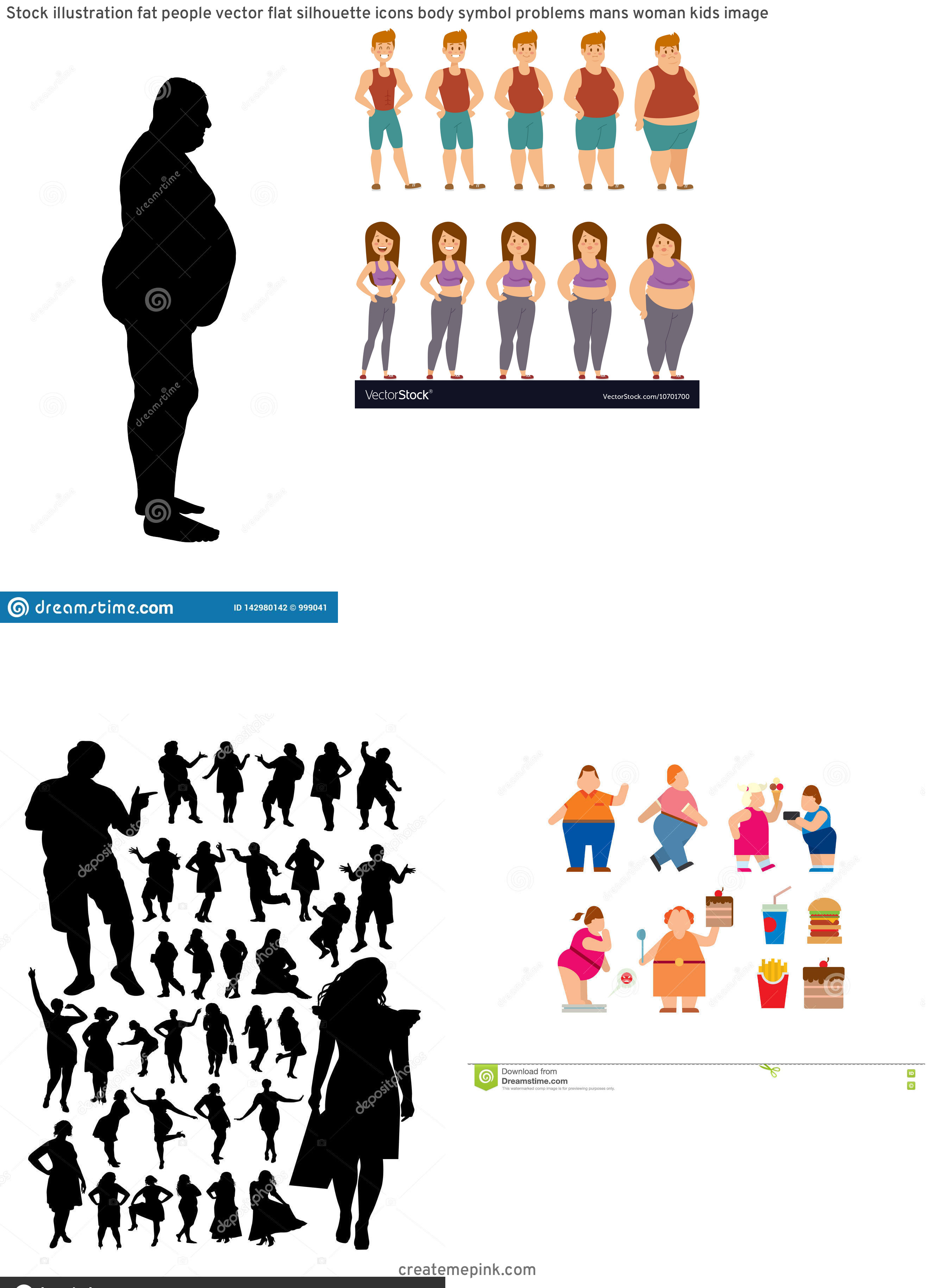 People Silhouette Vector Illustration Of Fat: Stock Illustration Fat People Vector Flat Silhouette Icons Body Symbol Problems Mans Woman Kids Image